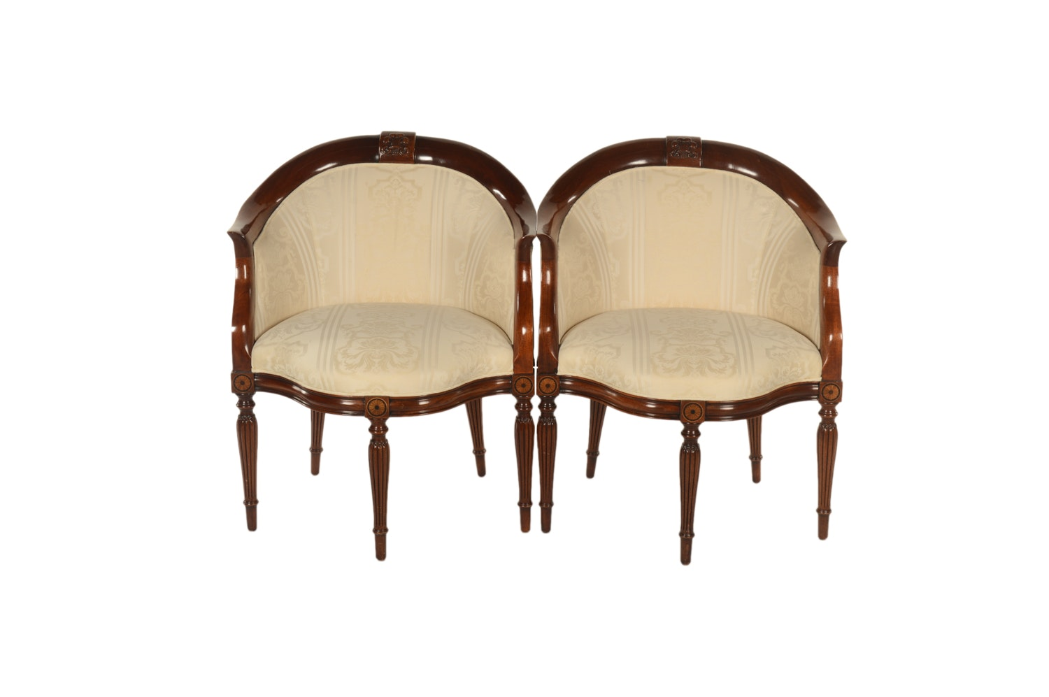 Neoclassical Style Corner Tub Chairs by Southwood, Late 20th Century