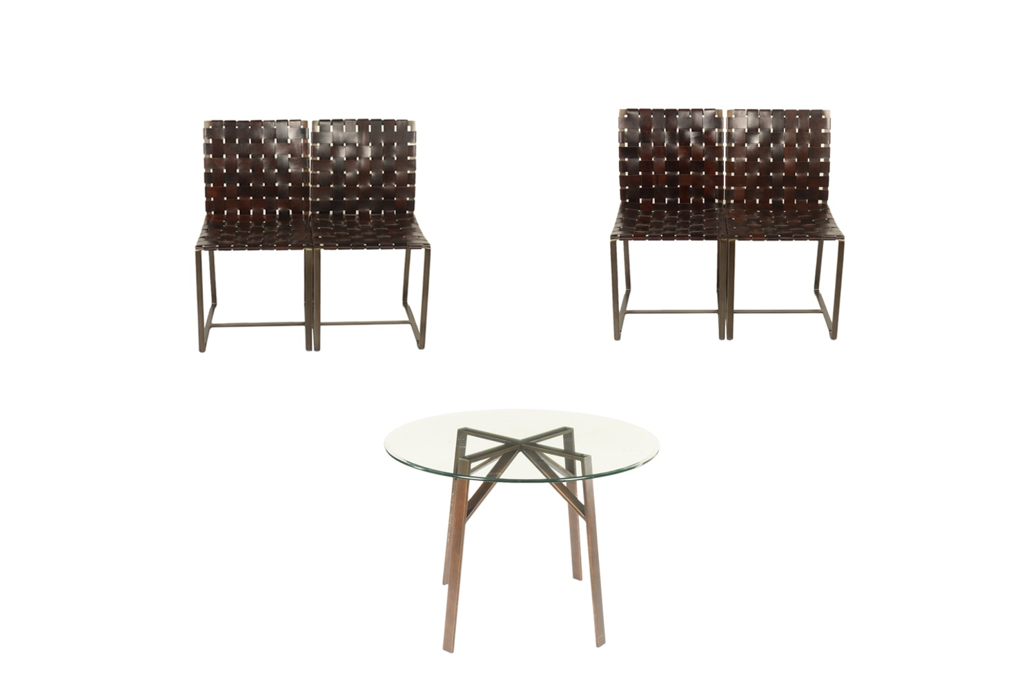 Contemporary Glass Table with Woven Leather Chairs by Crate & Barrel