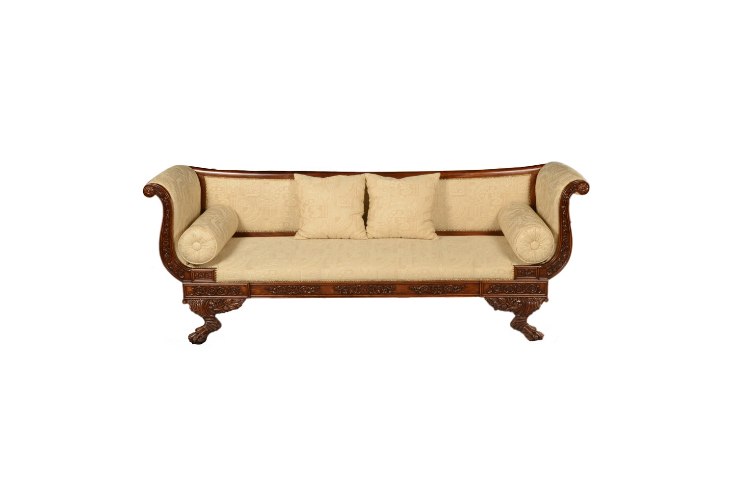 American Empire Style Mahogany and  Upholstered Settee, Mid/Late 20th Century
