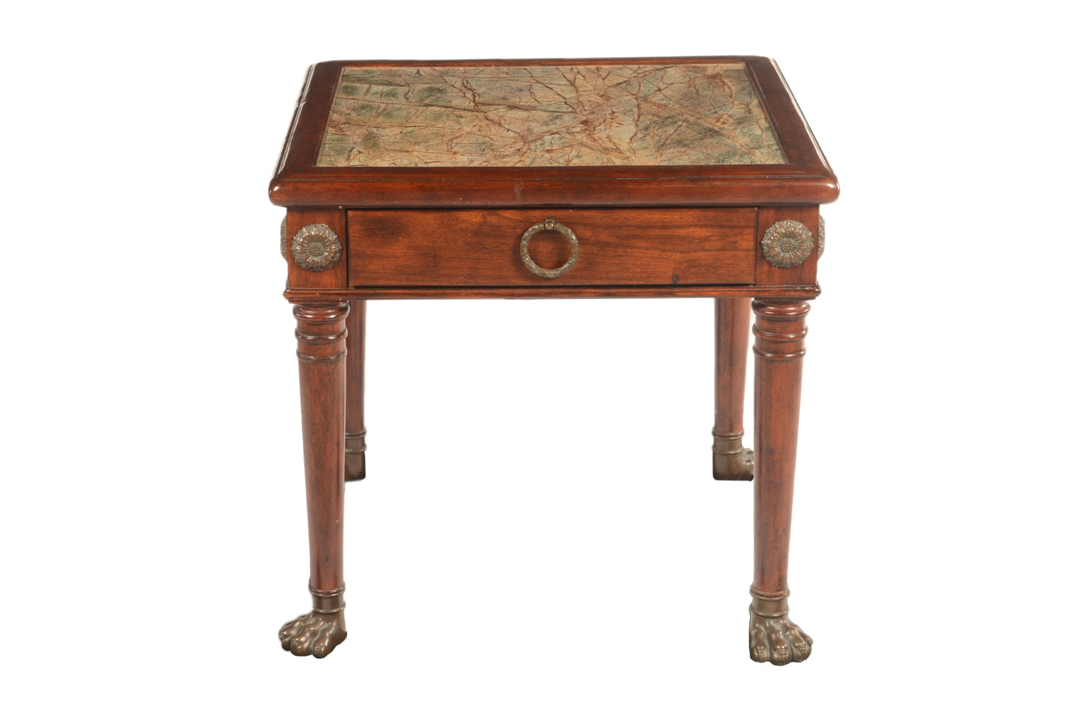Neoclassical Style Mahogany Finished Wood and Stone Top Side Table, 20th Century