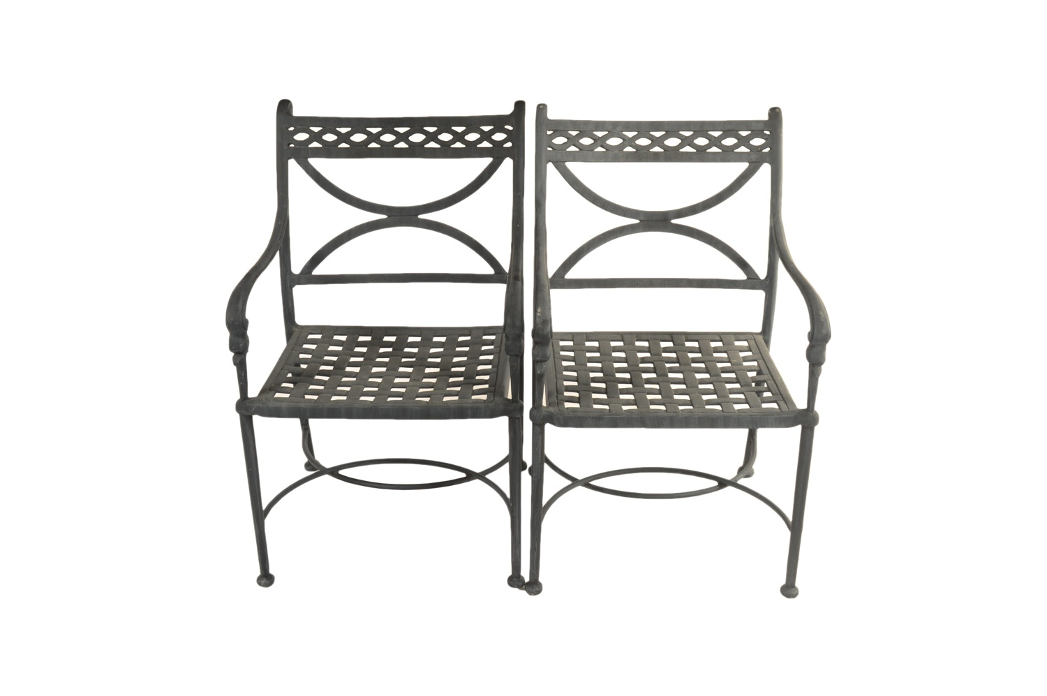 Neoclassical Style Black Metal Patio Chairs
