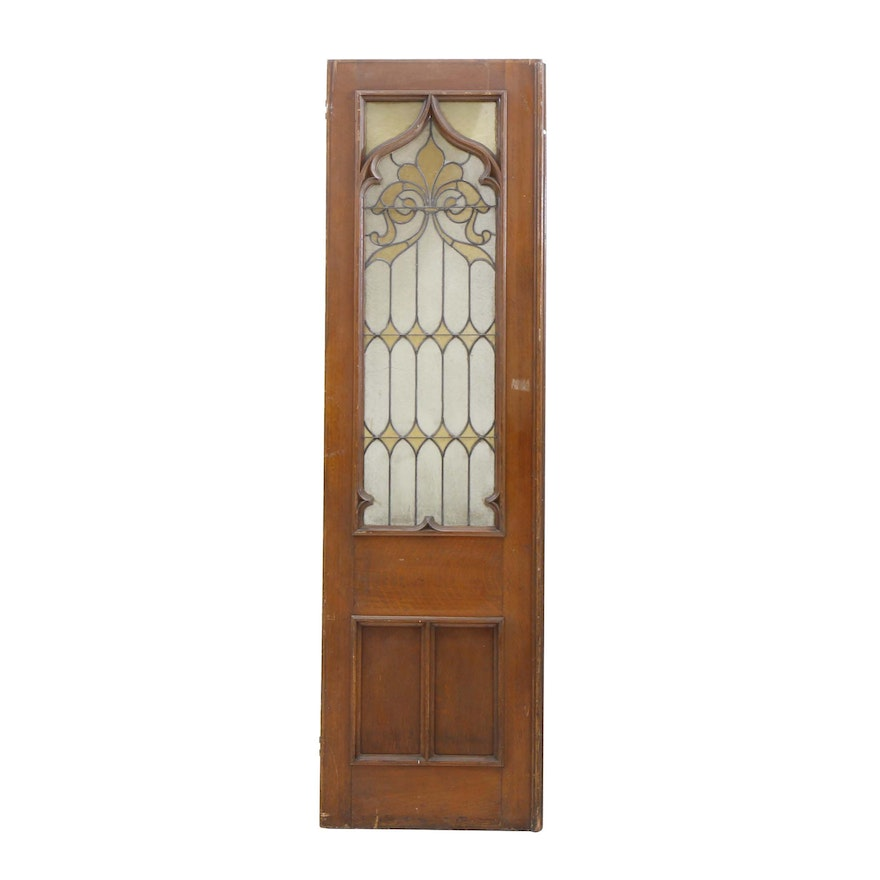 Antique Stained Glass and Oak Door ... - Antique Stained Glass And Oak Door : EBTH