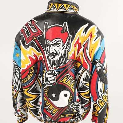 Men's 1990s Jeff Hamilton Limited Edition Custom Leather Art Jacket
