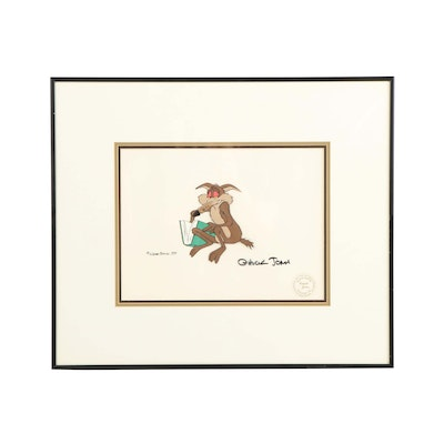 "Chuck Jones Signed 1979 Hand-Painted Production Cel ""Wile E. Coyote"""