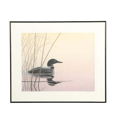 Rick Gill Offset Lithograph of Loon on Lake