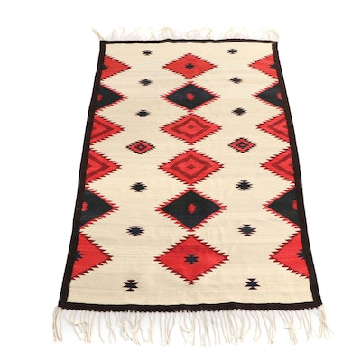 Handwoven Mexican Zapotec Wool Rug by Master Weaver Wence Martinez, 1989