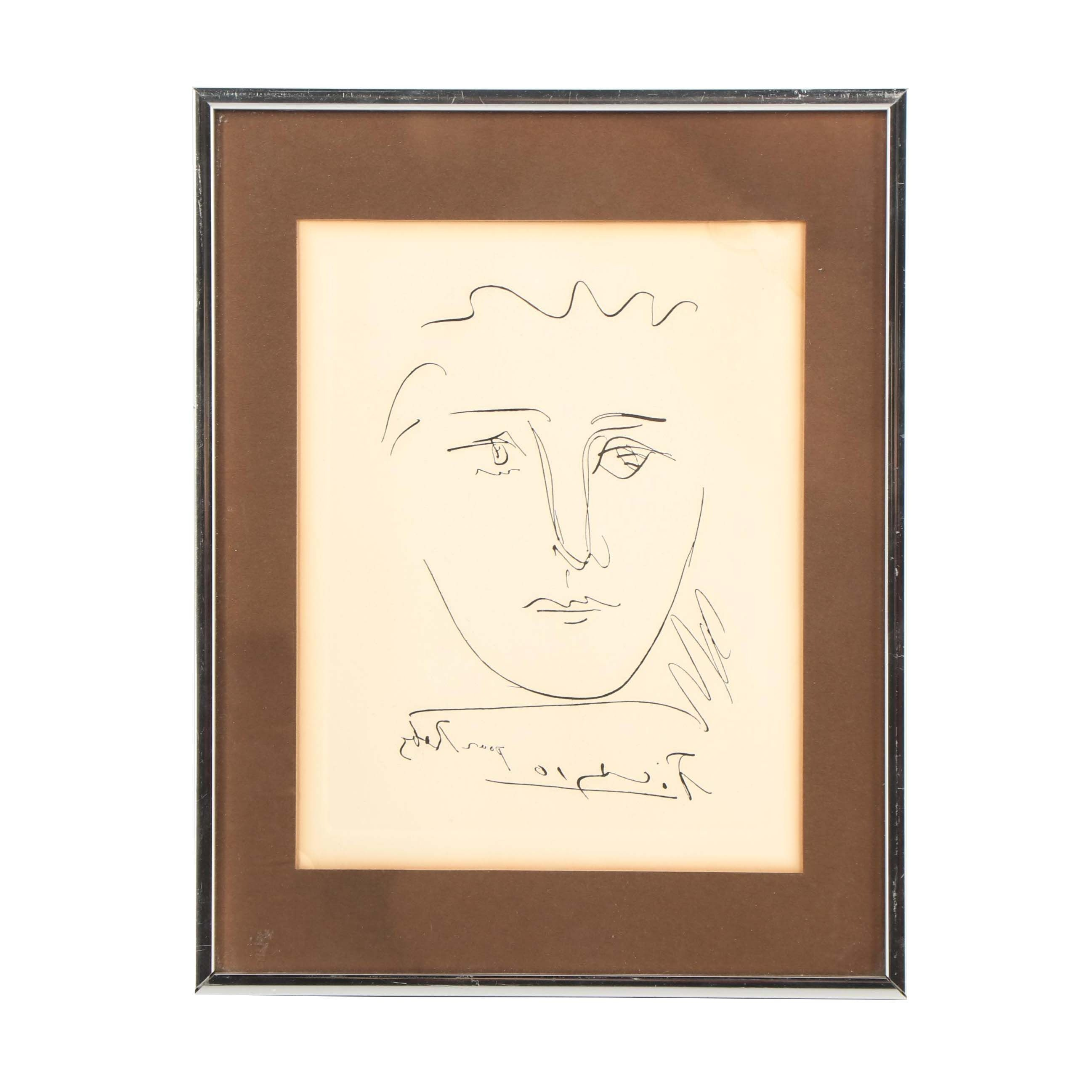 """Restrike Etching after Pablo Picasso """"Pour Robie"""""""