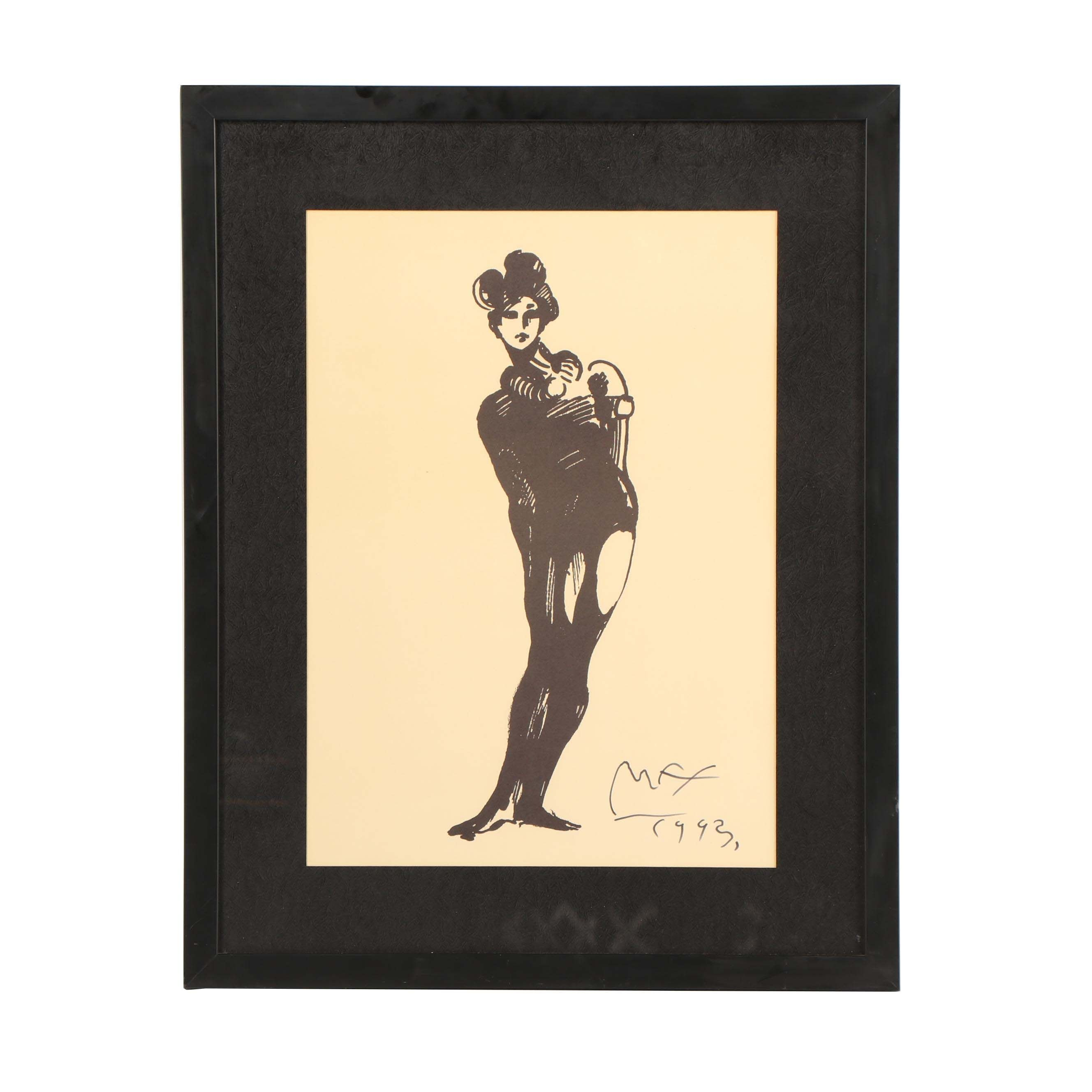 """Peter Max Lithograph """"The Mime"""""""