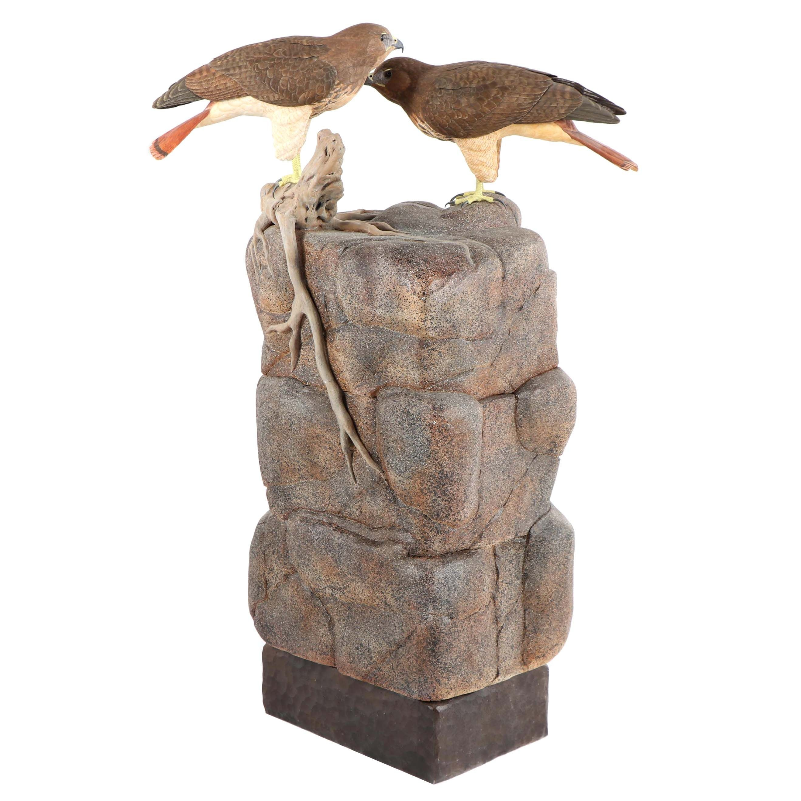 """Don Osier """"Rocky Affair"""" Carved Wood Sculpture depicting Red Tailed Hawks"""