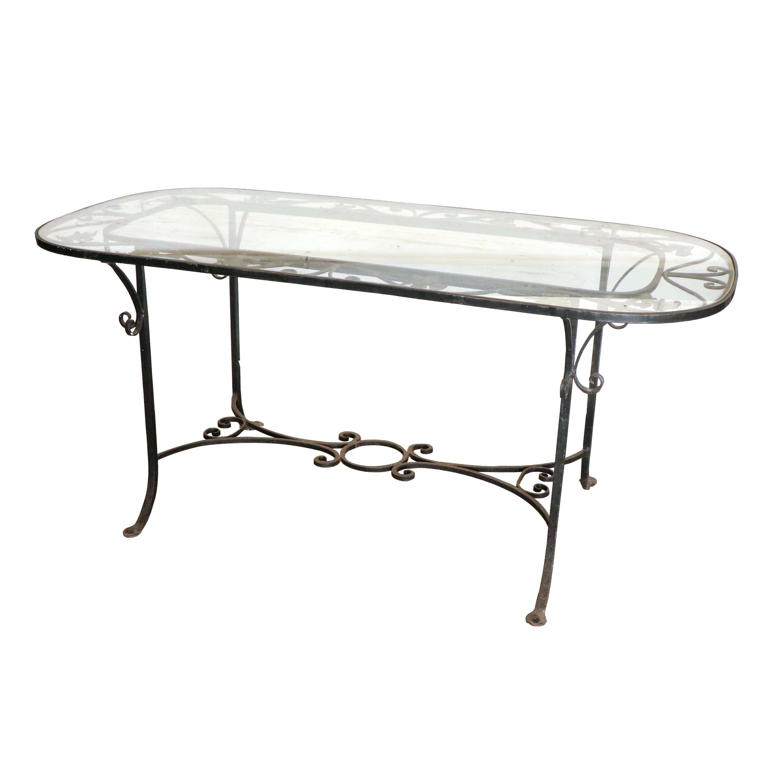 Glass Top Patio Table, 20th Century