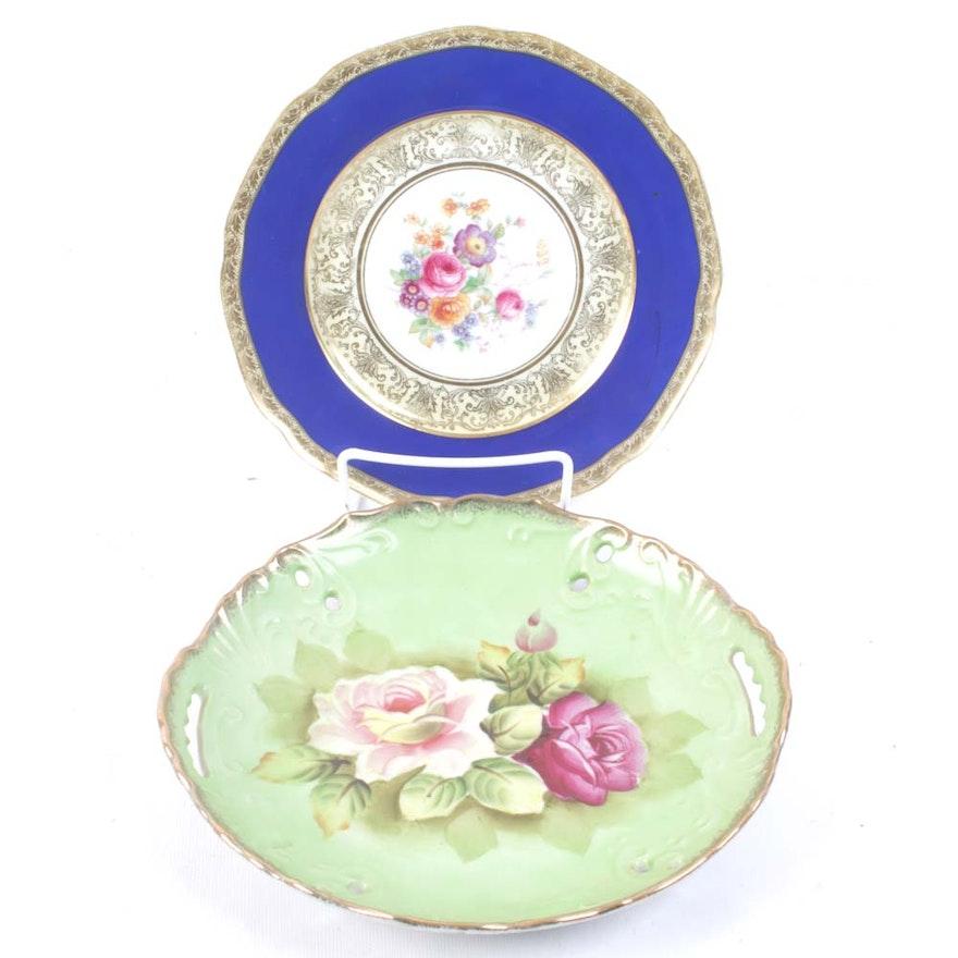 P T  Bavaria Tirschenreuth and Arnart Creation Porcelain Floral Plates