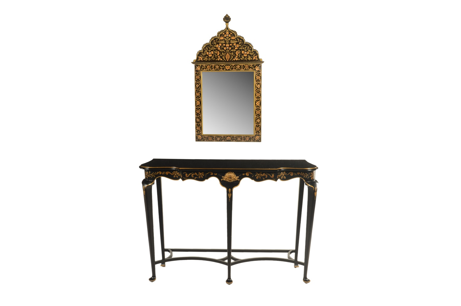 Contemporary Black and Gold Hand Painted Wood Console Table and Mirror