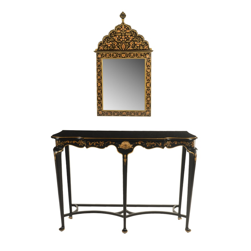 Phenomenal Contemporary Black And Gold Hand Painted Wood Console Table And Mirror Machost Co Dining Chair Design Ideas Machostcouk