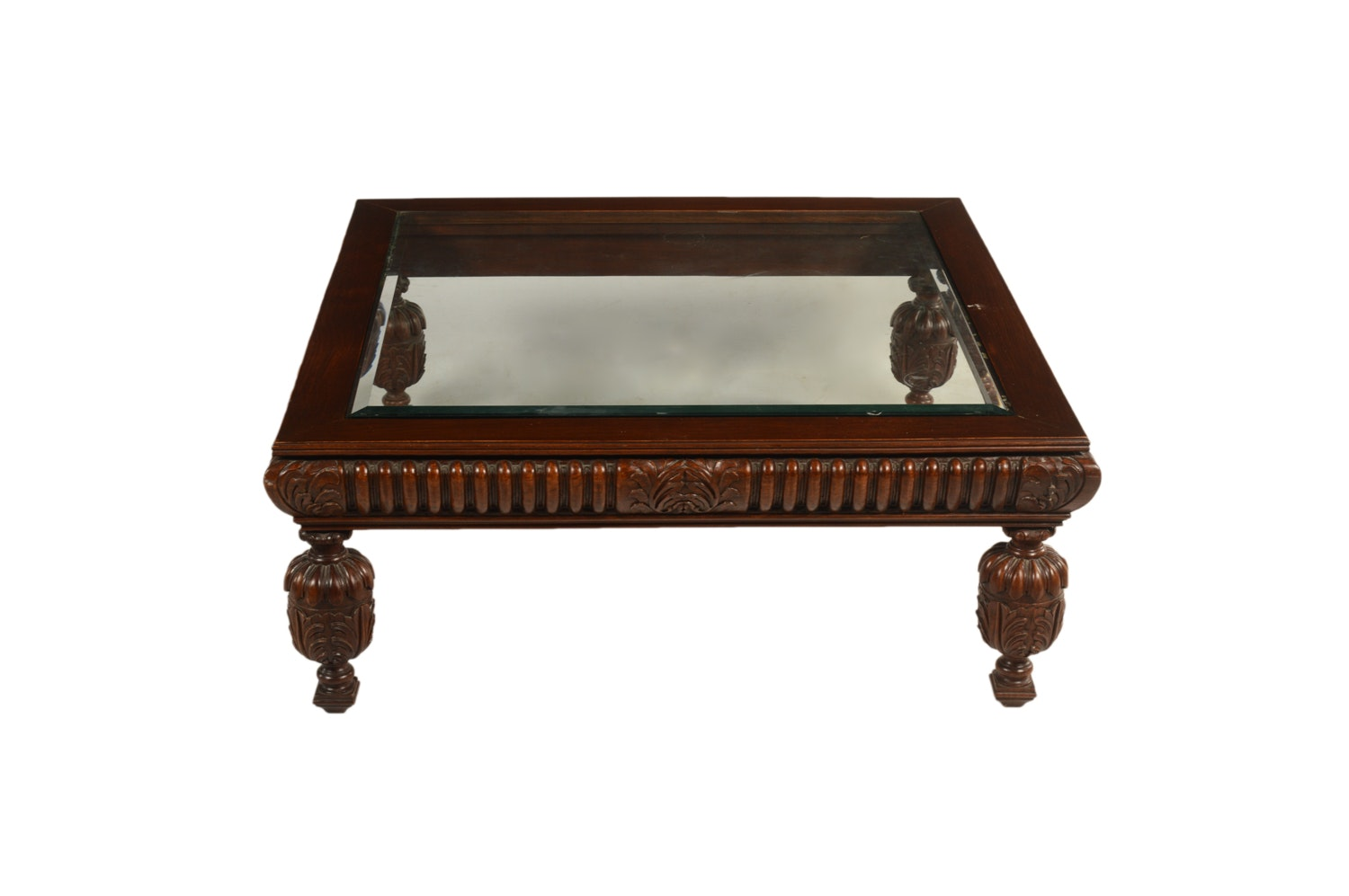 Neoclassical Style Glass Top Coffee Table, Late 20th Century
