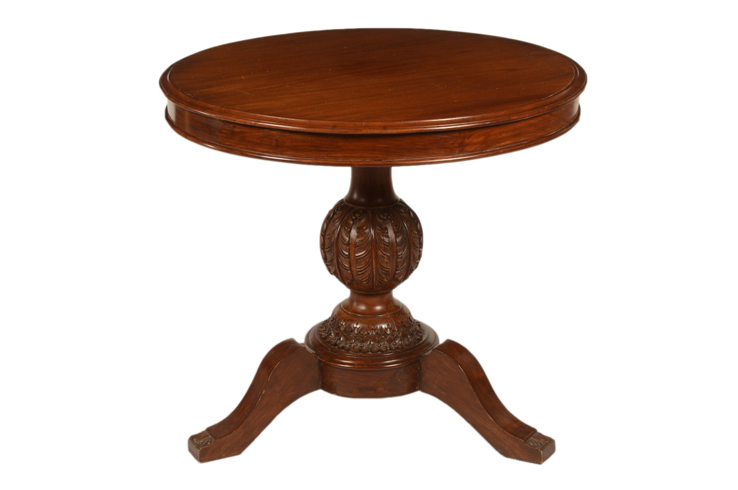 Federal Style Mahogany Pedestal Foyer Table, 20th Century