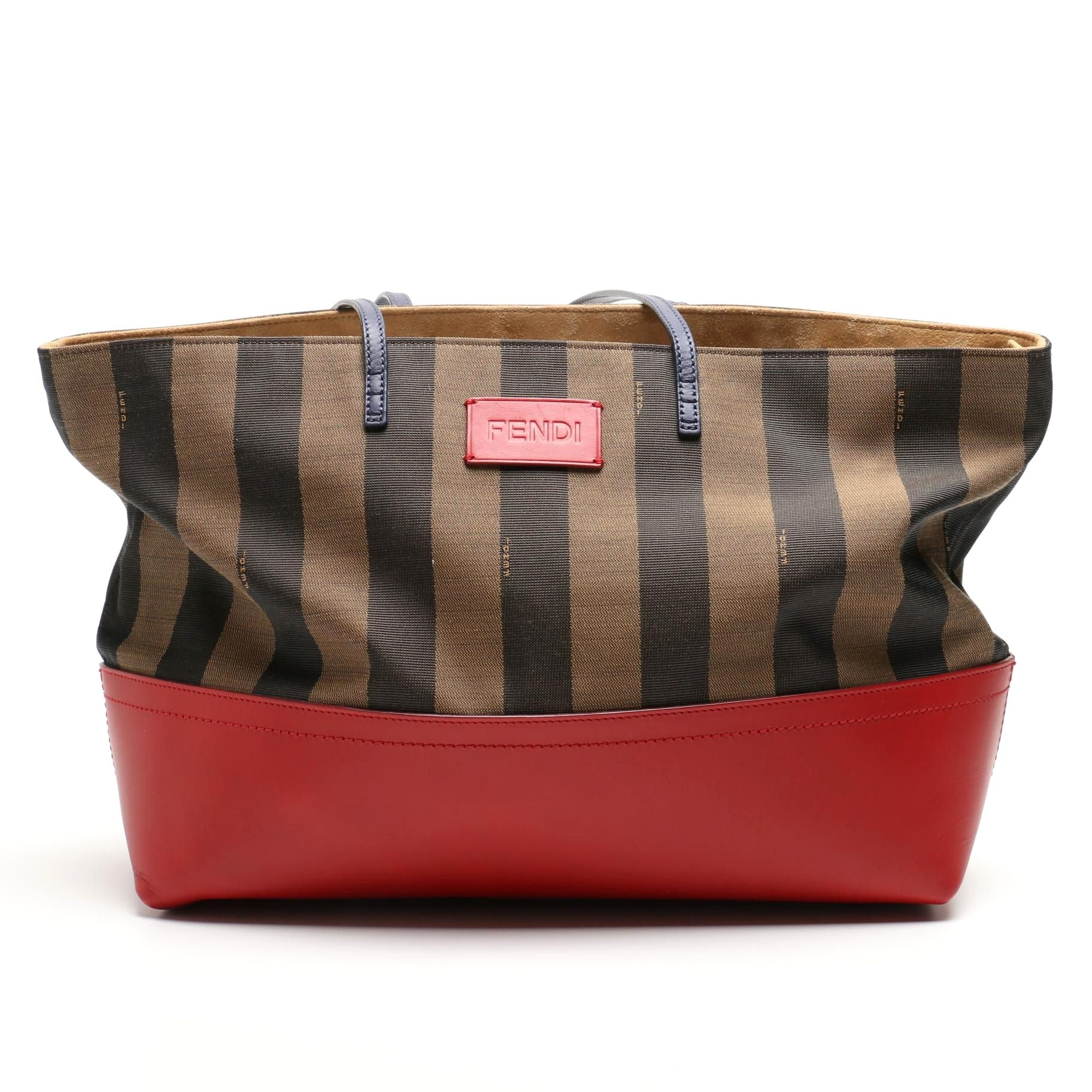 Fendi Pequin Stripe and Leather Roll Tote