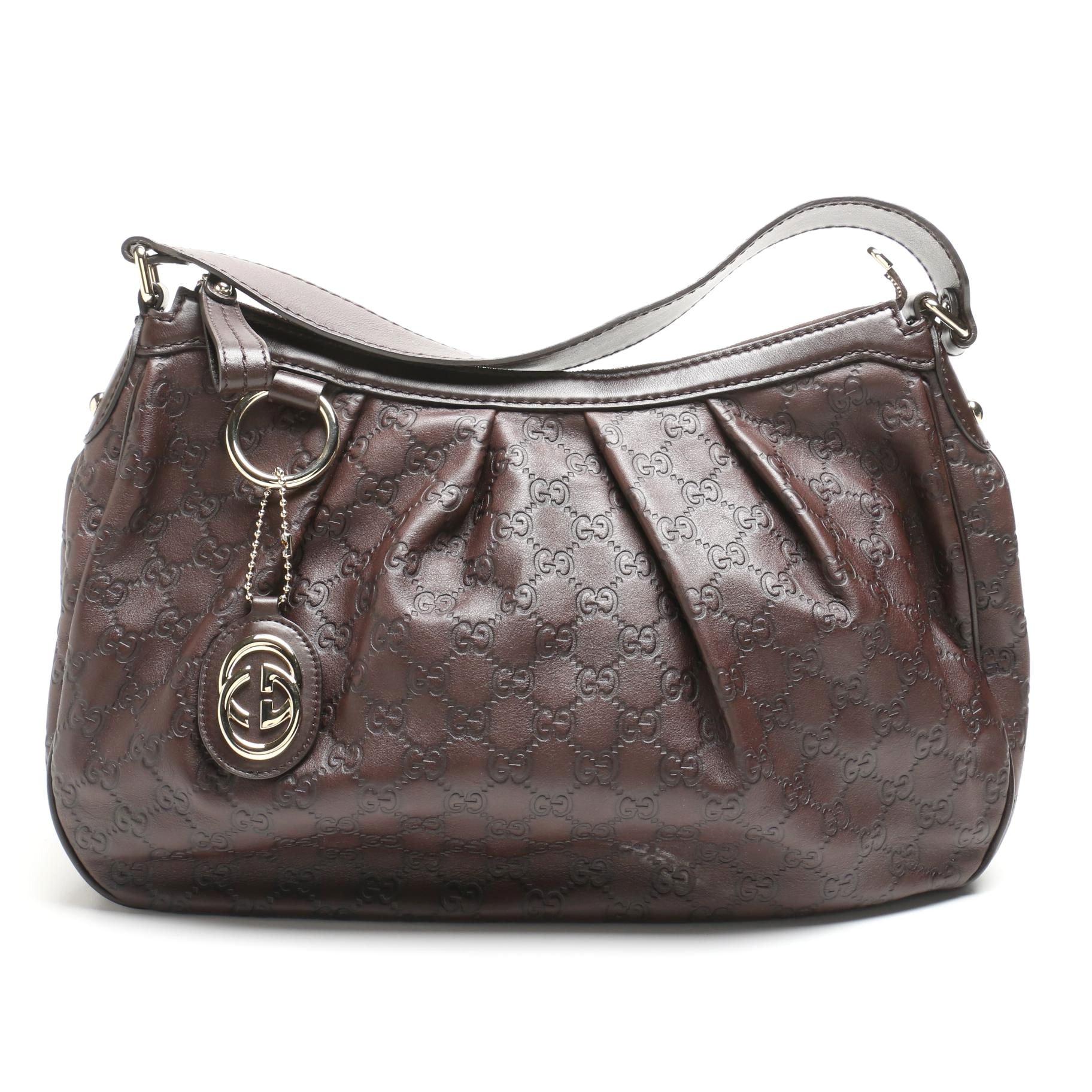 Gucci Guccissima Brown Leather Sukey Hobo Bag