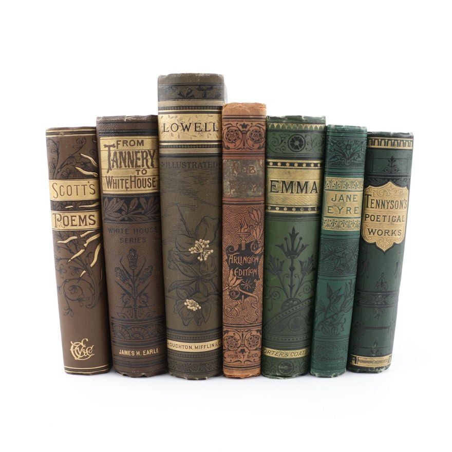 "Antique Books Featuring ""Jane Eyre"" by Charlotte Brontë"
