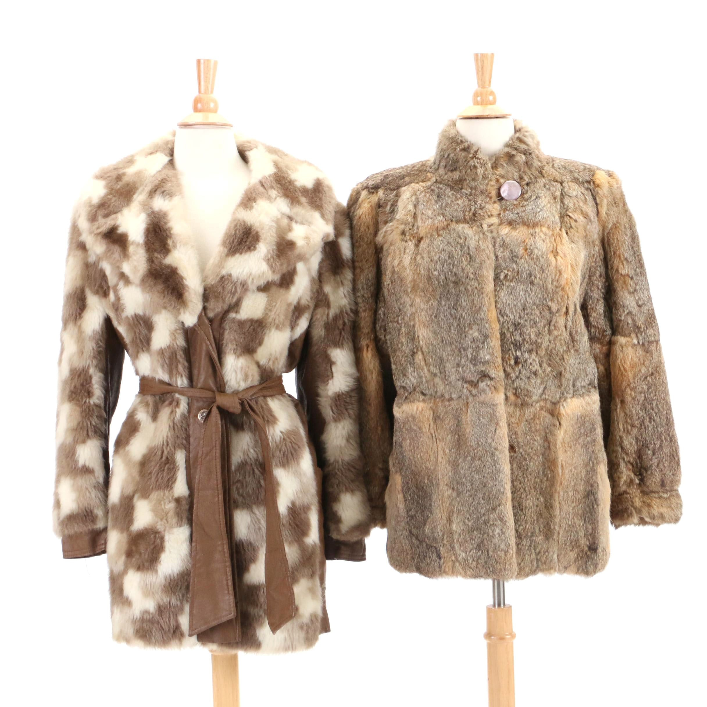 Vintage Rabbit Fur Coat and Faux Fur Jacket