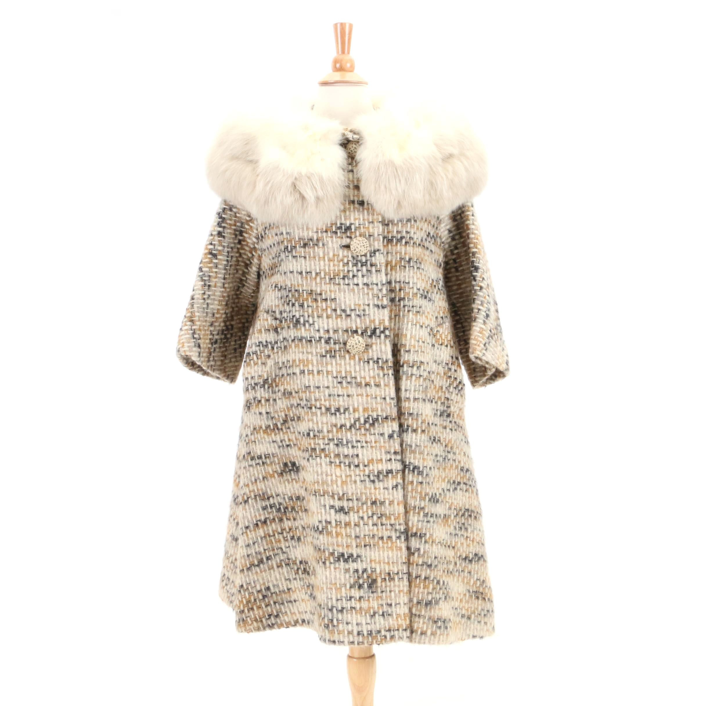 Vintage Gino Rossi Tweed Swing Coat with Fox Fur Collar