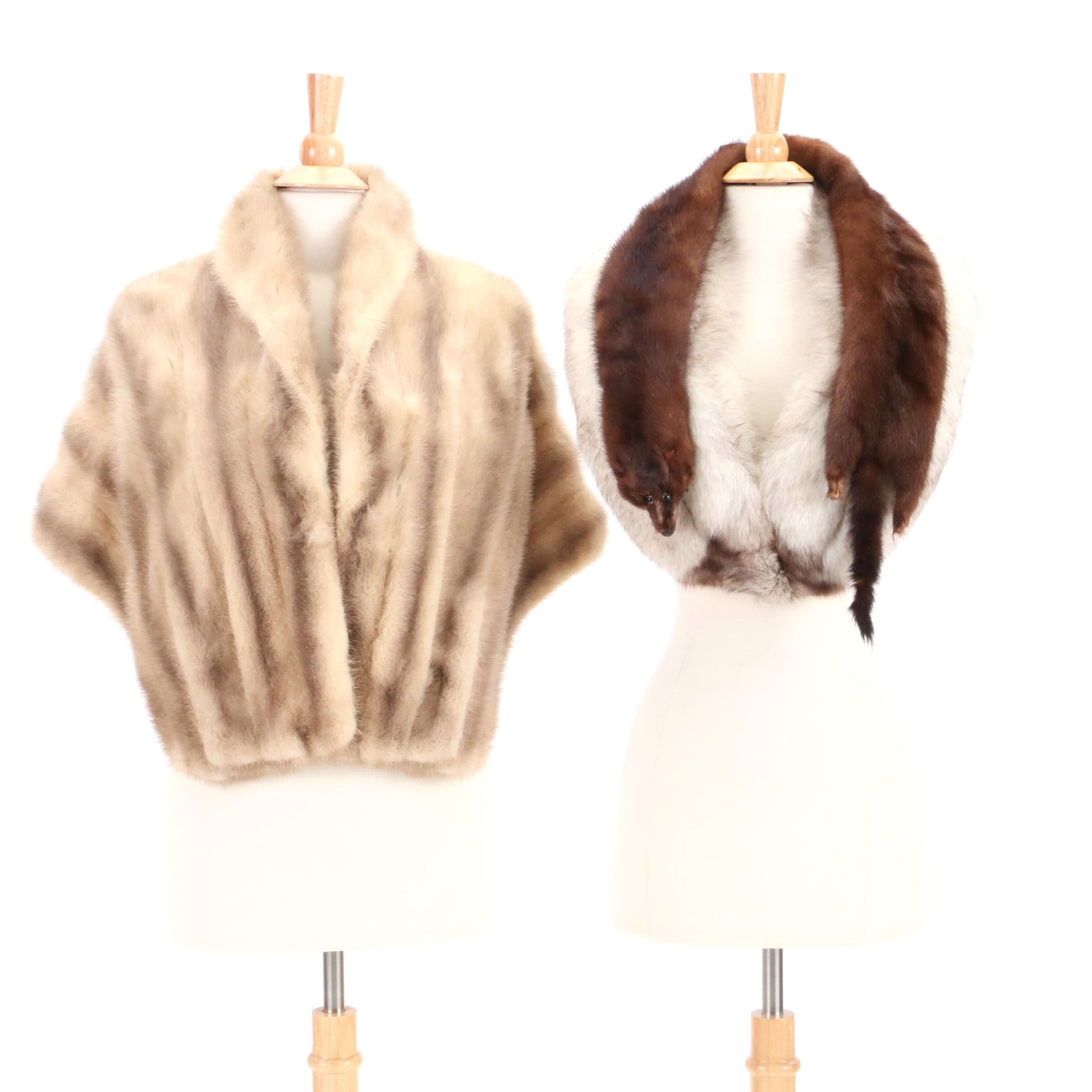 Mink Fur Stole, Fox Fur Collar and Mink Pelts