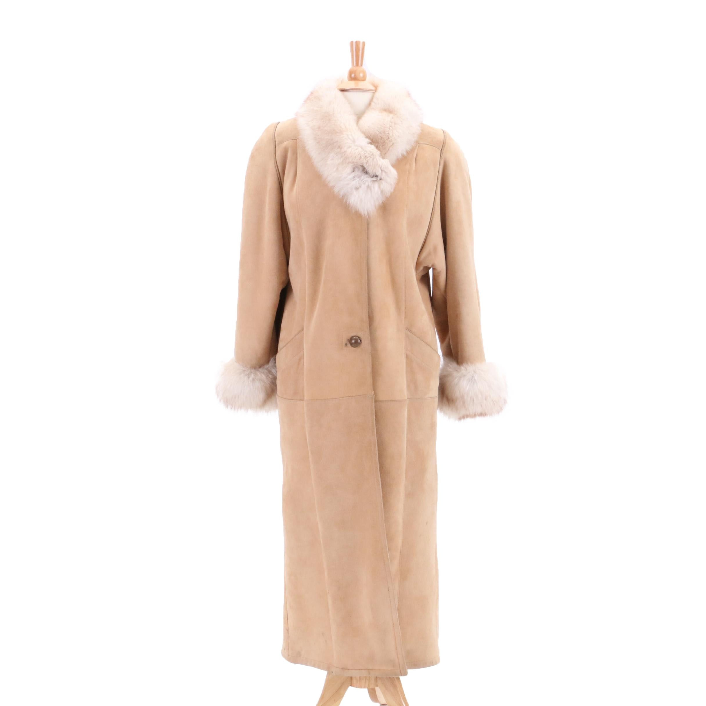 Women's Turkis Tukku Sheepskin Coat with Fox Fur Trim