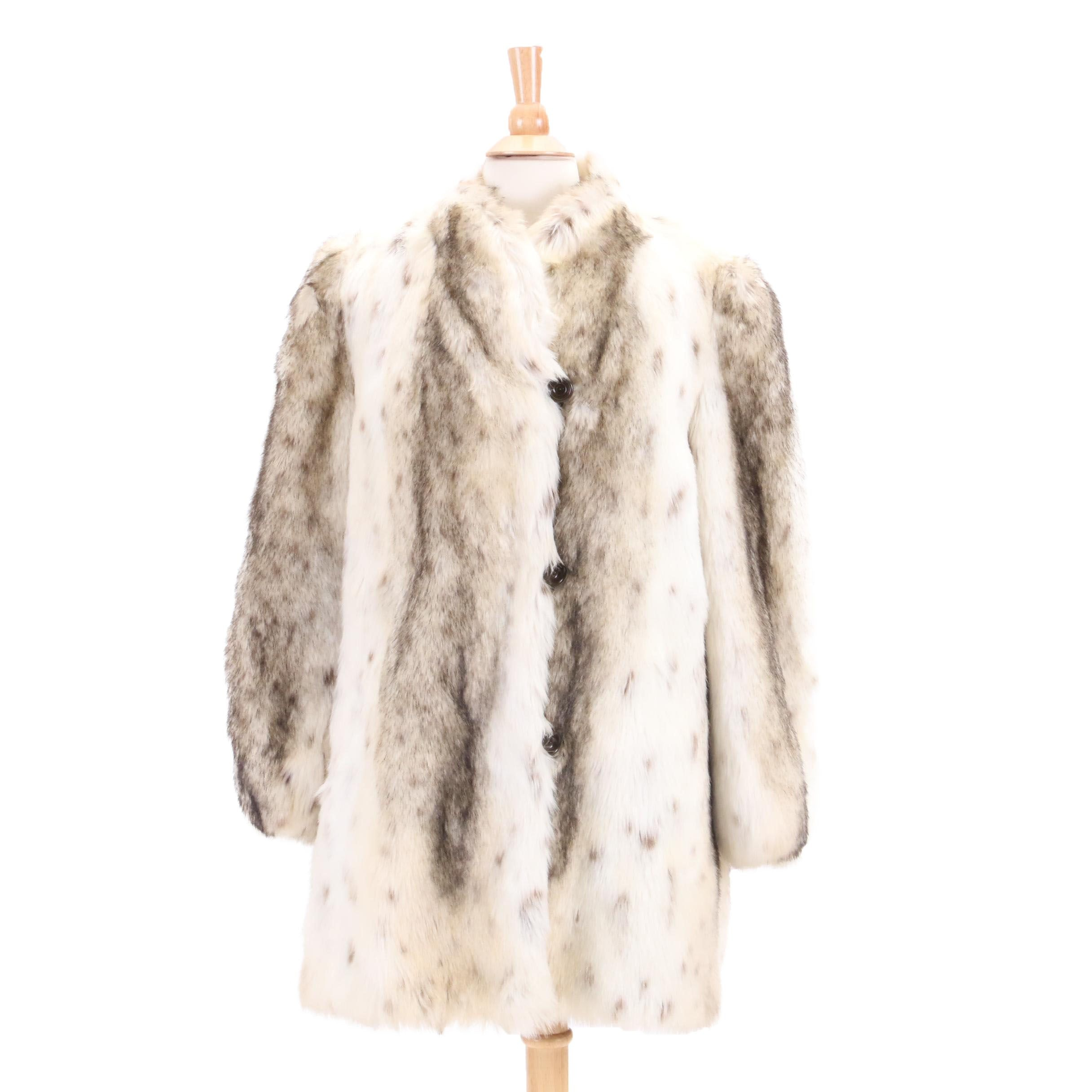 Vintage Gidding Jenny Lynx-Dyed Faux Fur Coat