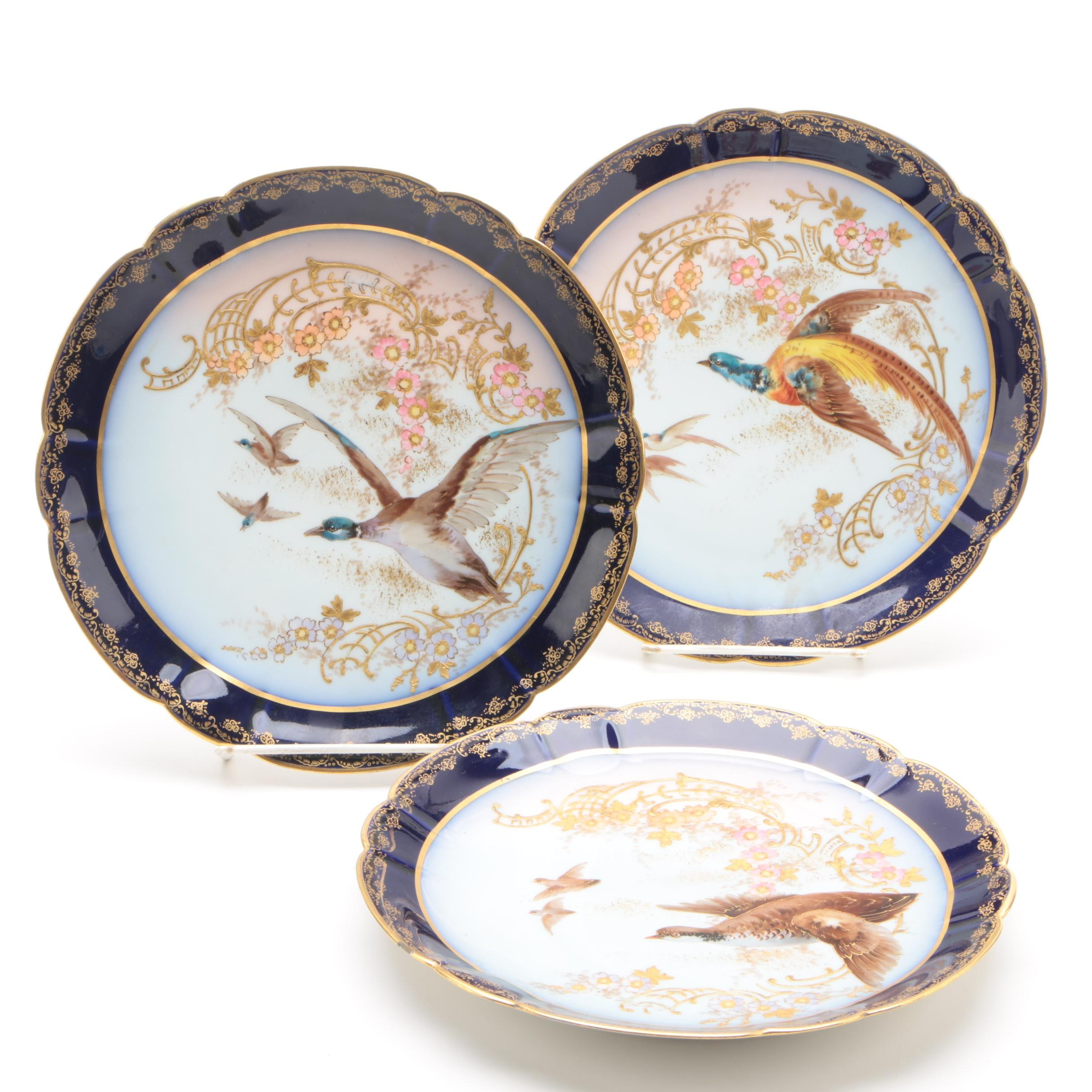 Antique Hand-Painted M. Redon Limoges Porcelain Plates featuring Game Birds