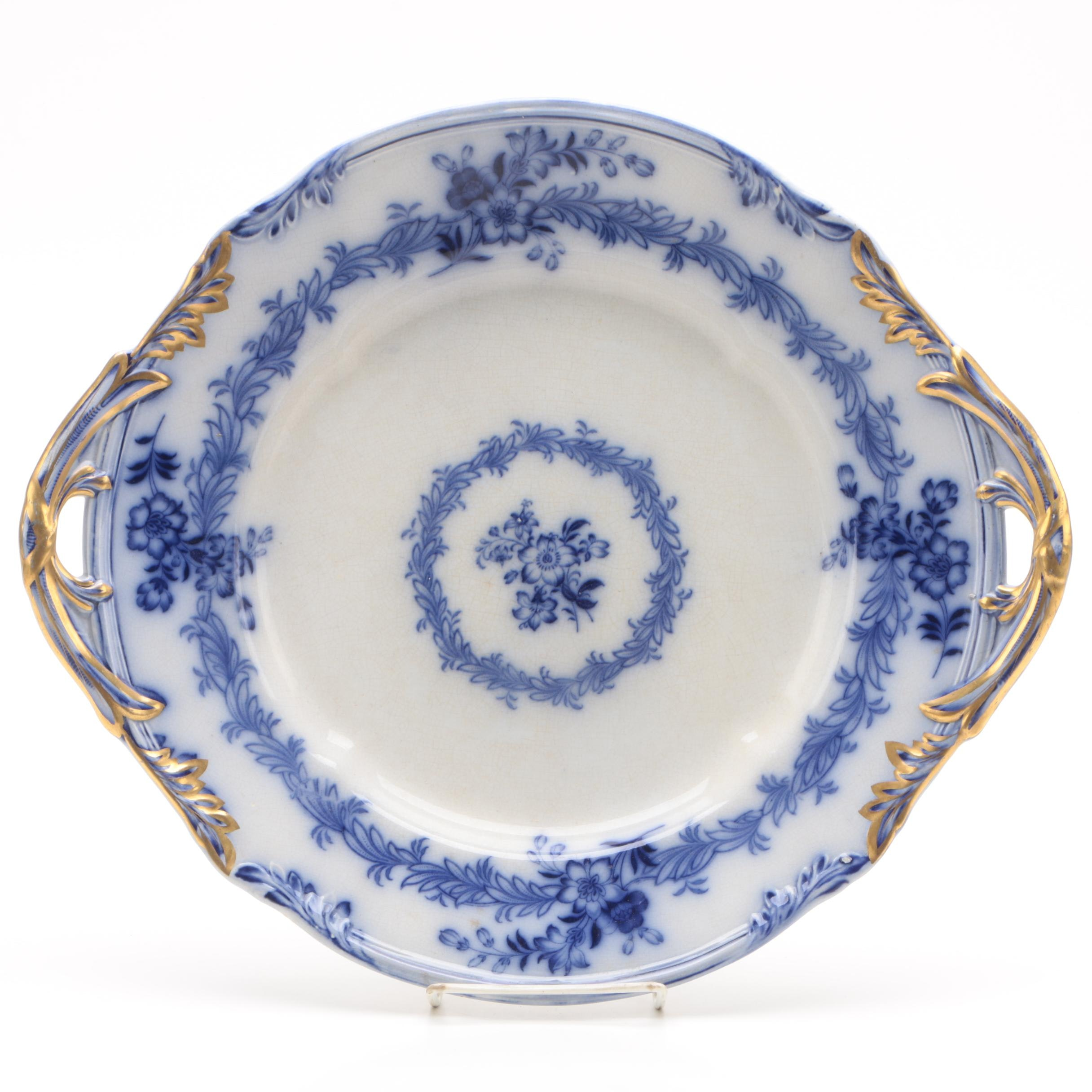 "Antique Brownfield ""Ambrosia"" Flow Blue Earthenware Platter"