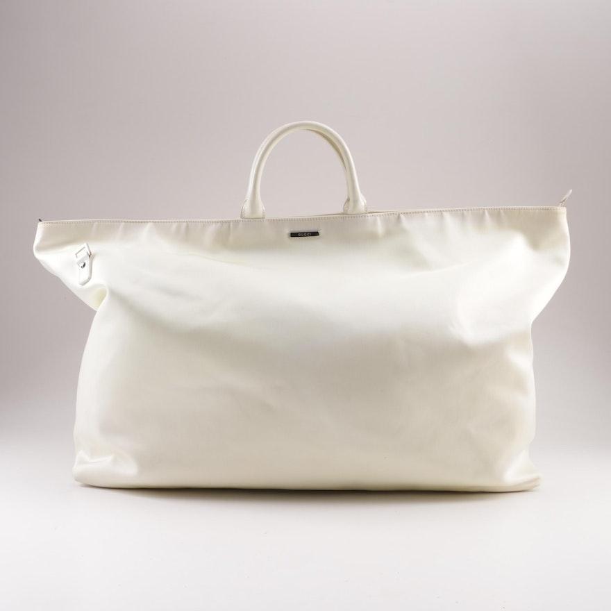 3ad283dfa73e Gucci White Canvas Weekender Duffel Bag