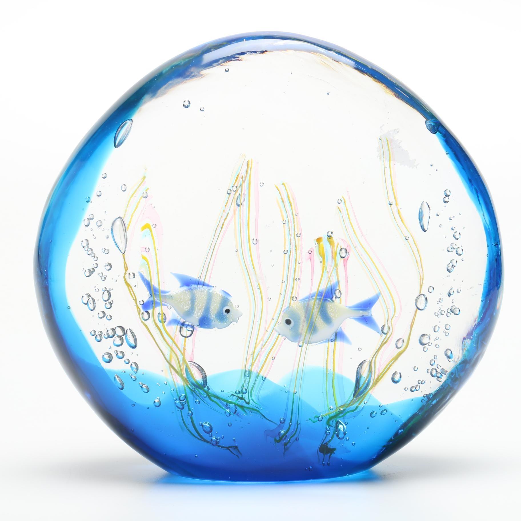 Signed Elio Raffaeli Murano Art Glass Aquarium Sculpture