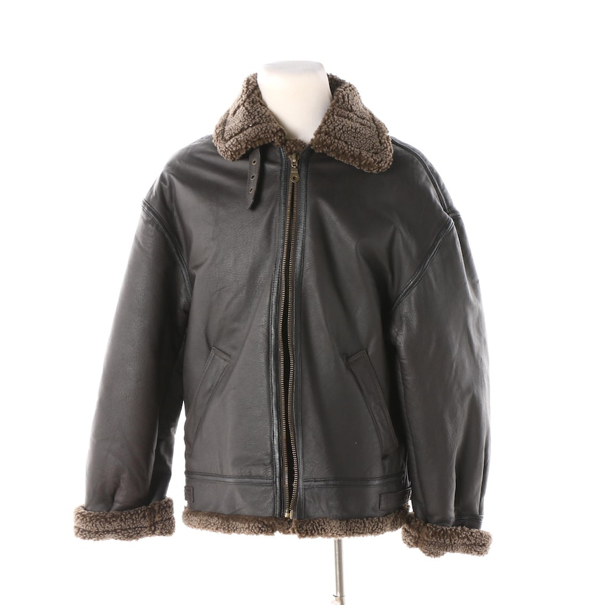1b2029170a1f Men s Winlit Dark Brown Leather and Faux Shearling Bomber Jacket   EBTH