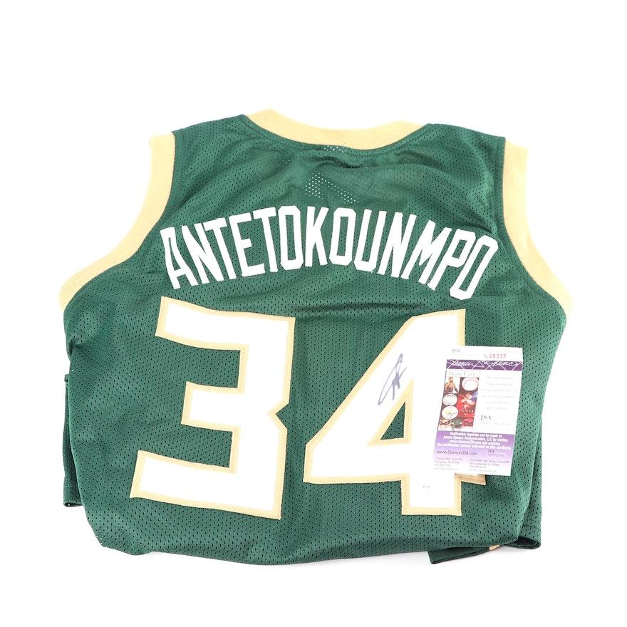 0a1ddab36 Giannis Antetokounmpo Autographed Milwaukee Bucks Replica Jersey - JSA COA