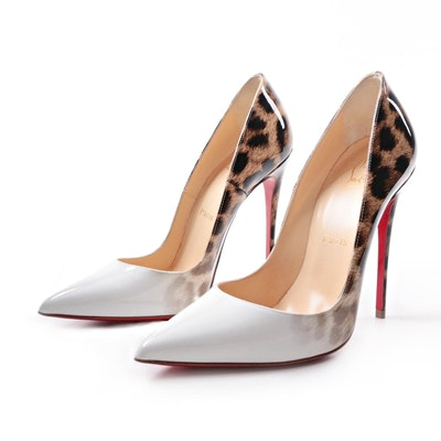 "Christian Louboutin ""So Kate"" White and Leopard Patent Leather Heels"