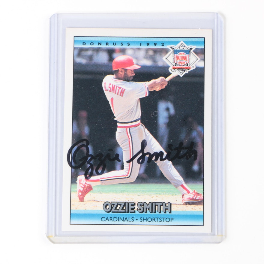 1992 Ozzie Smith Autographed Donruss Baseball Card