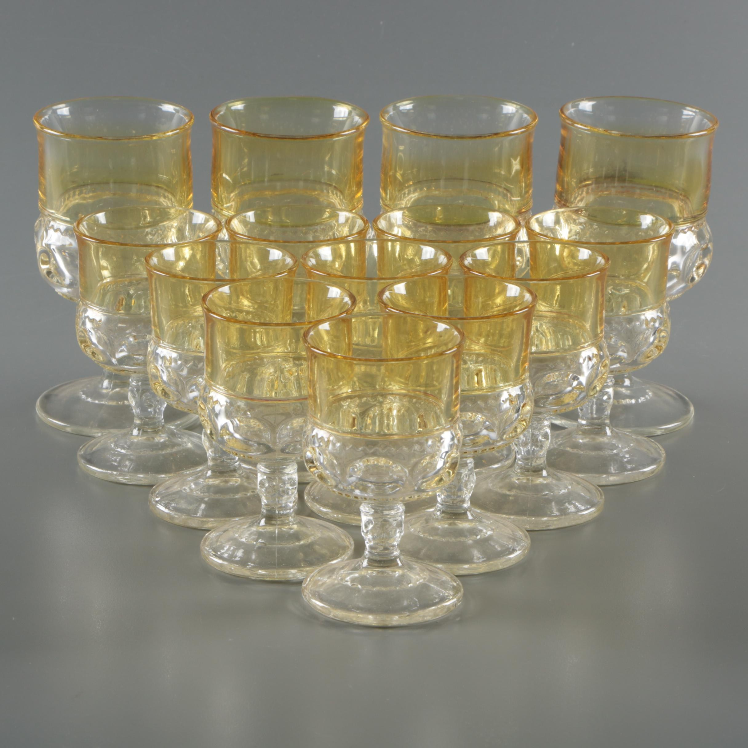 "Tiffin-Franciscan ""King's Crown"" Amber Flashed Glass Stemware"