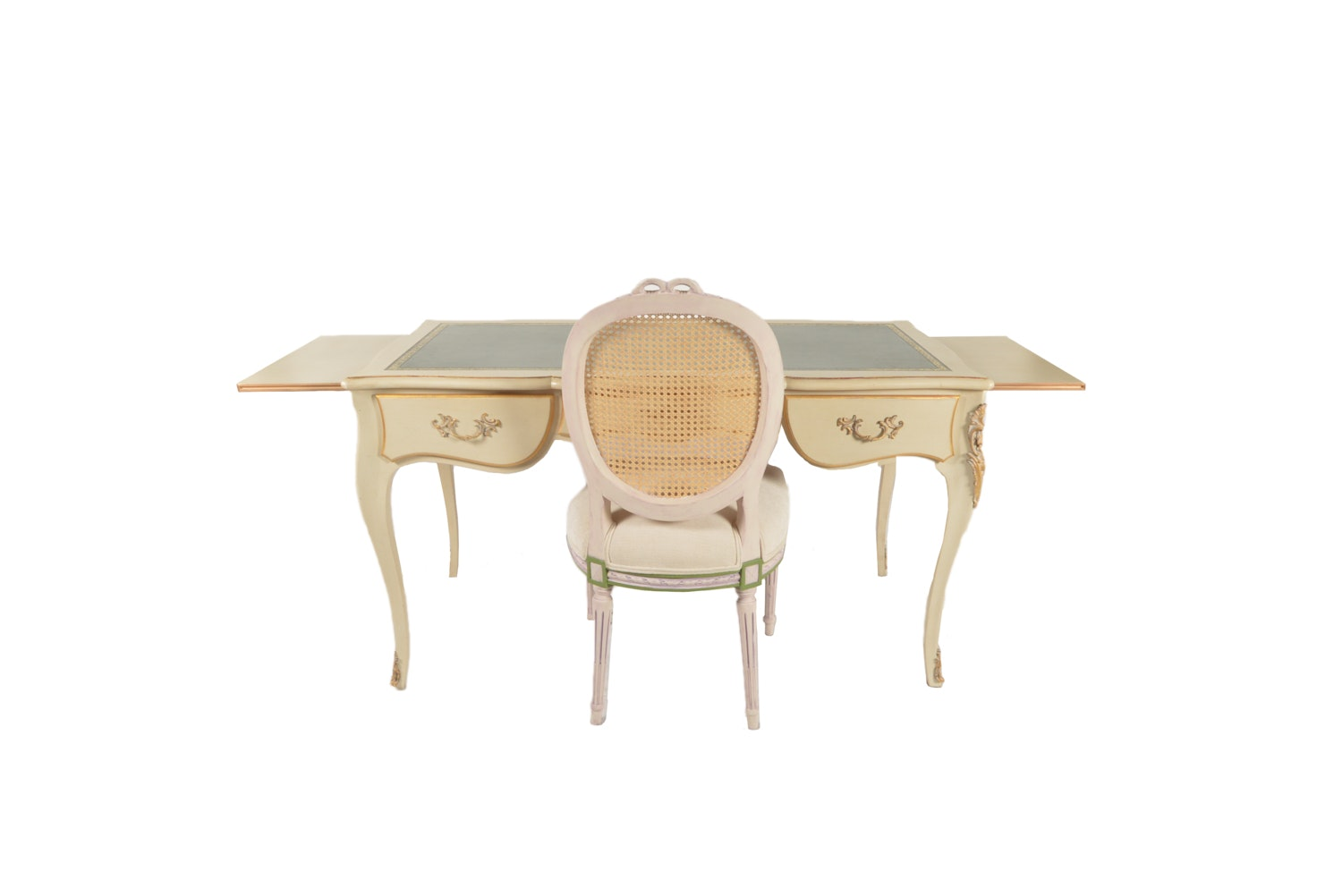 French Provincial Style Painted Desk with Chair, Mid-20th Century