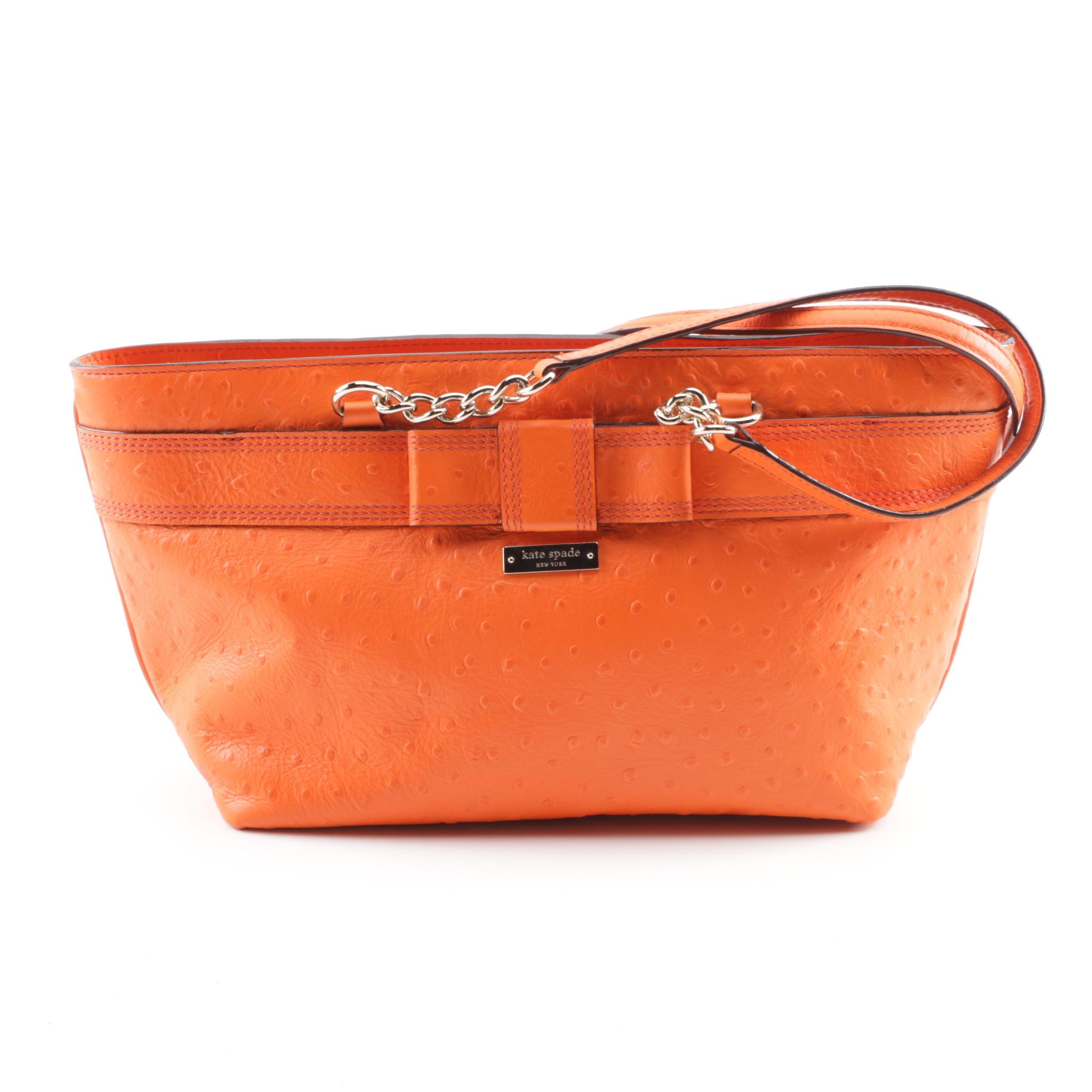 Kate Spade New York Brigid Orange Ostrich Embossed Leather Shoulder Bag