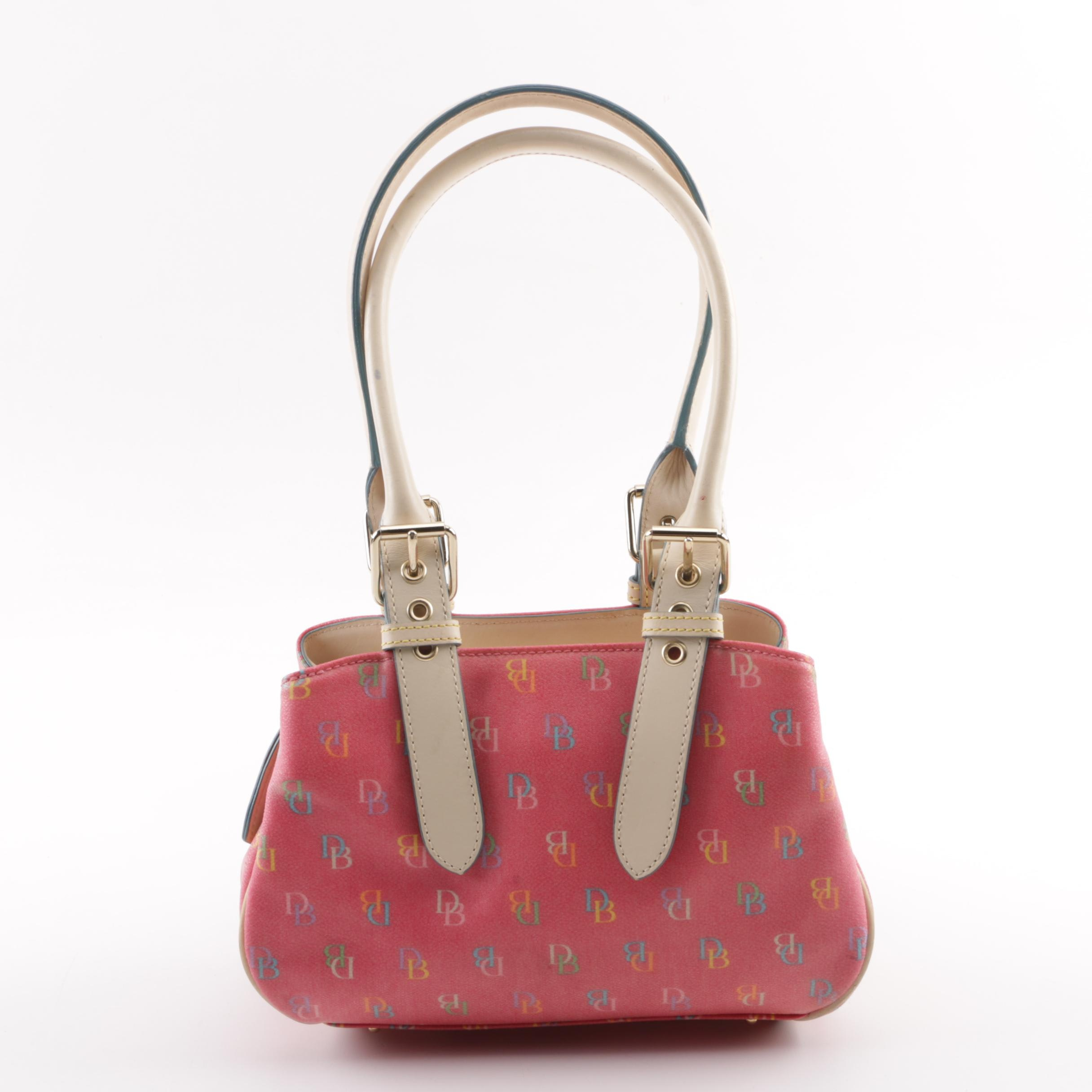 Dooney & Bourke Pink Multicolor Monogram Coated Canvas and Leather Handbag