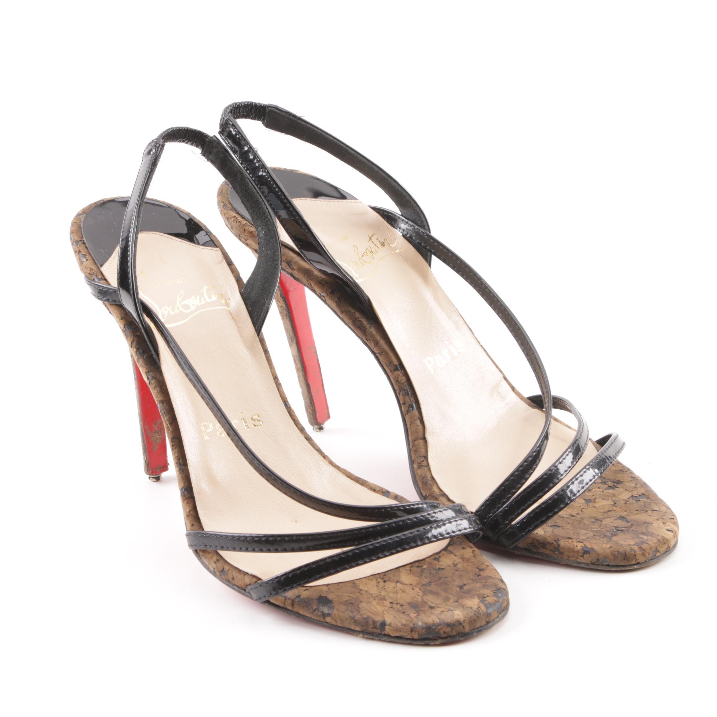 Women's Christian Louboutin Brown Patent Leather Cork Heel Slingback Sandals