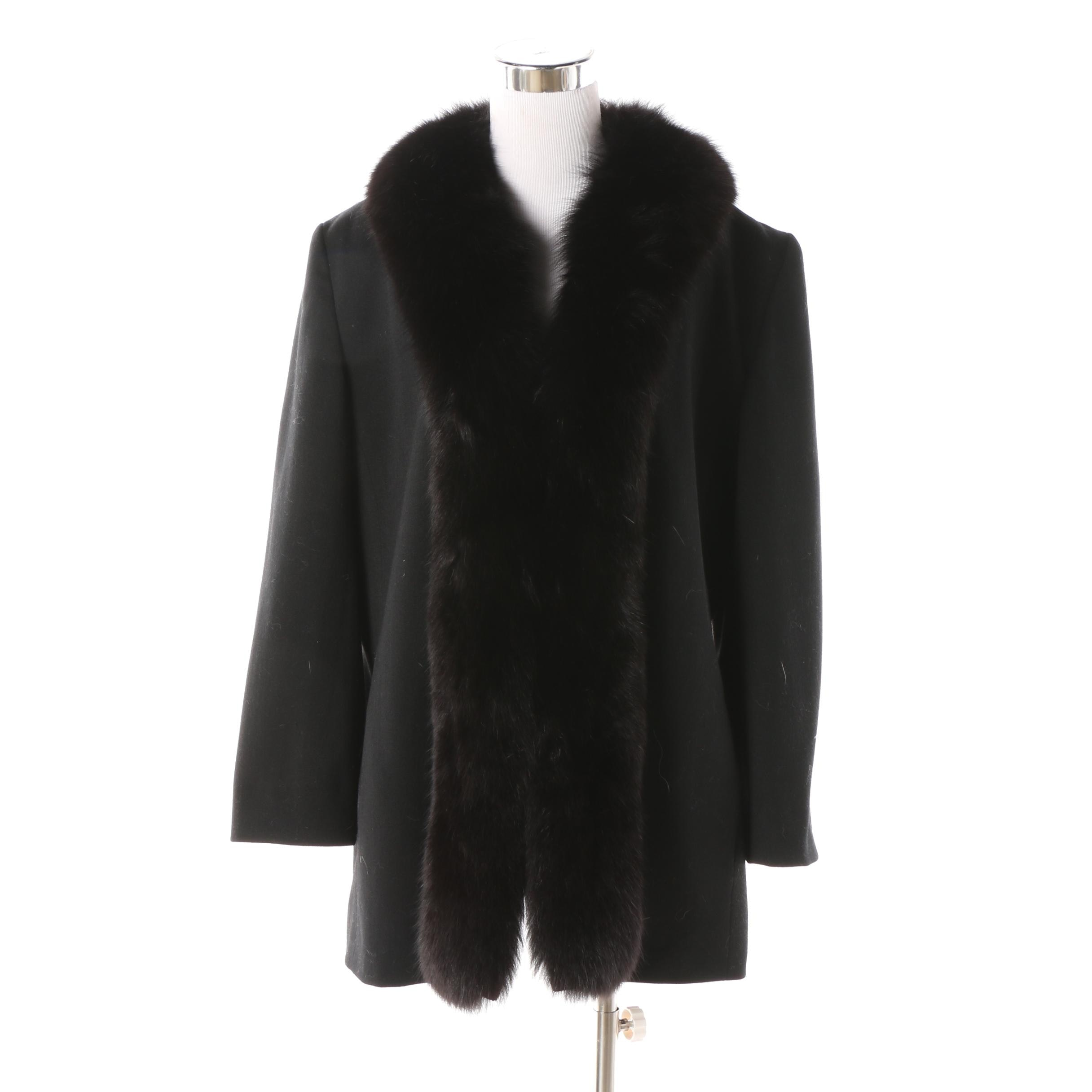 Women's Vintage Denise for Windemere Black Wool Jacket with Dyed Fox Fur Collar