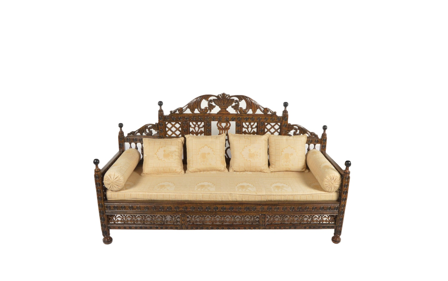 Indian Carved Wood Settee, 20th Century