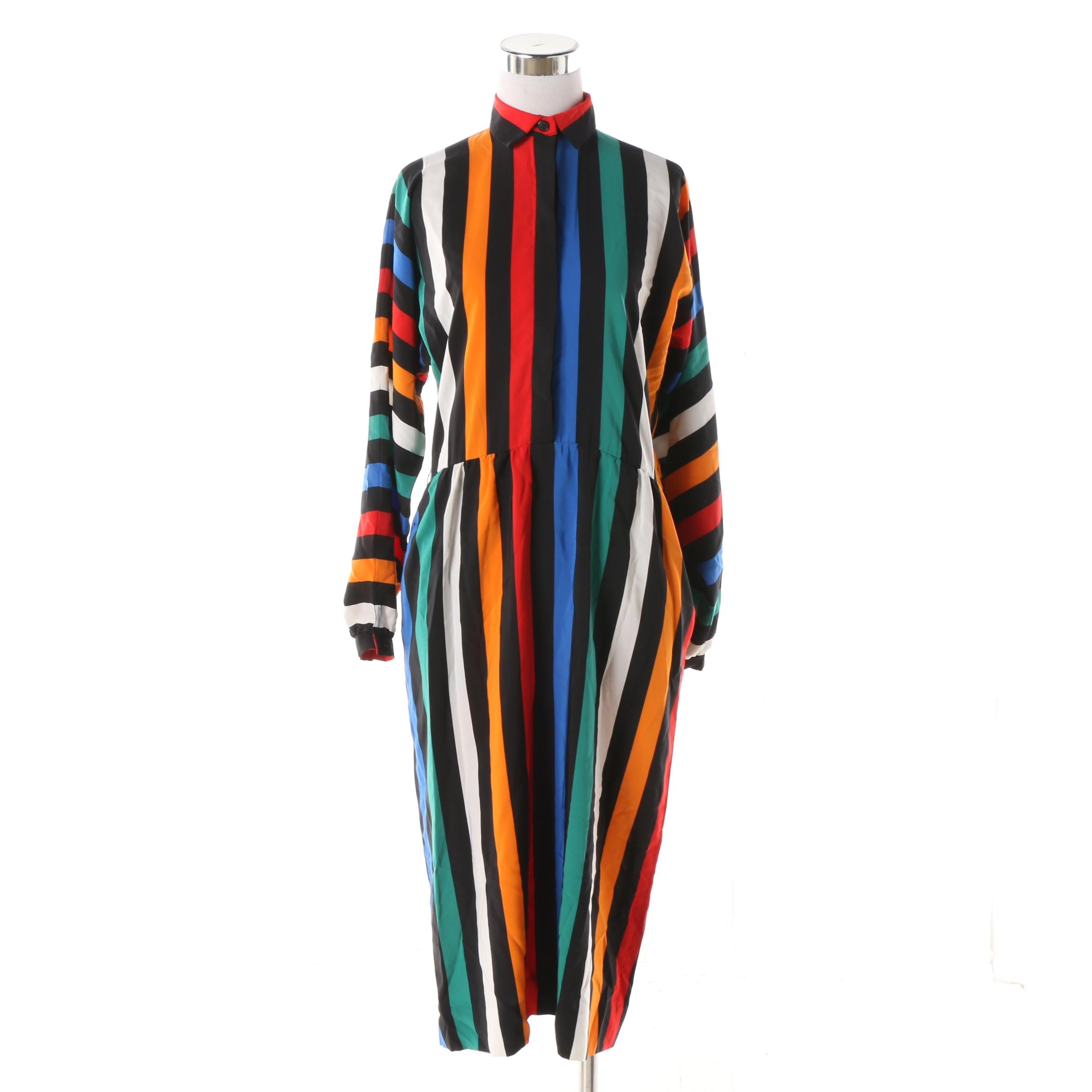 Women's Multicolor Striped Shirt Dress, Made in Japan
