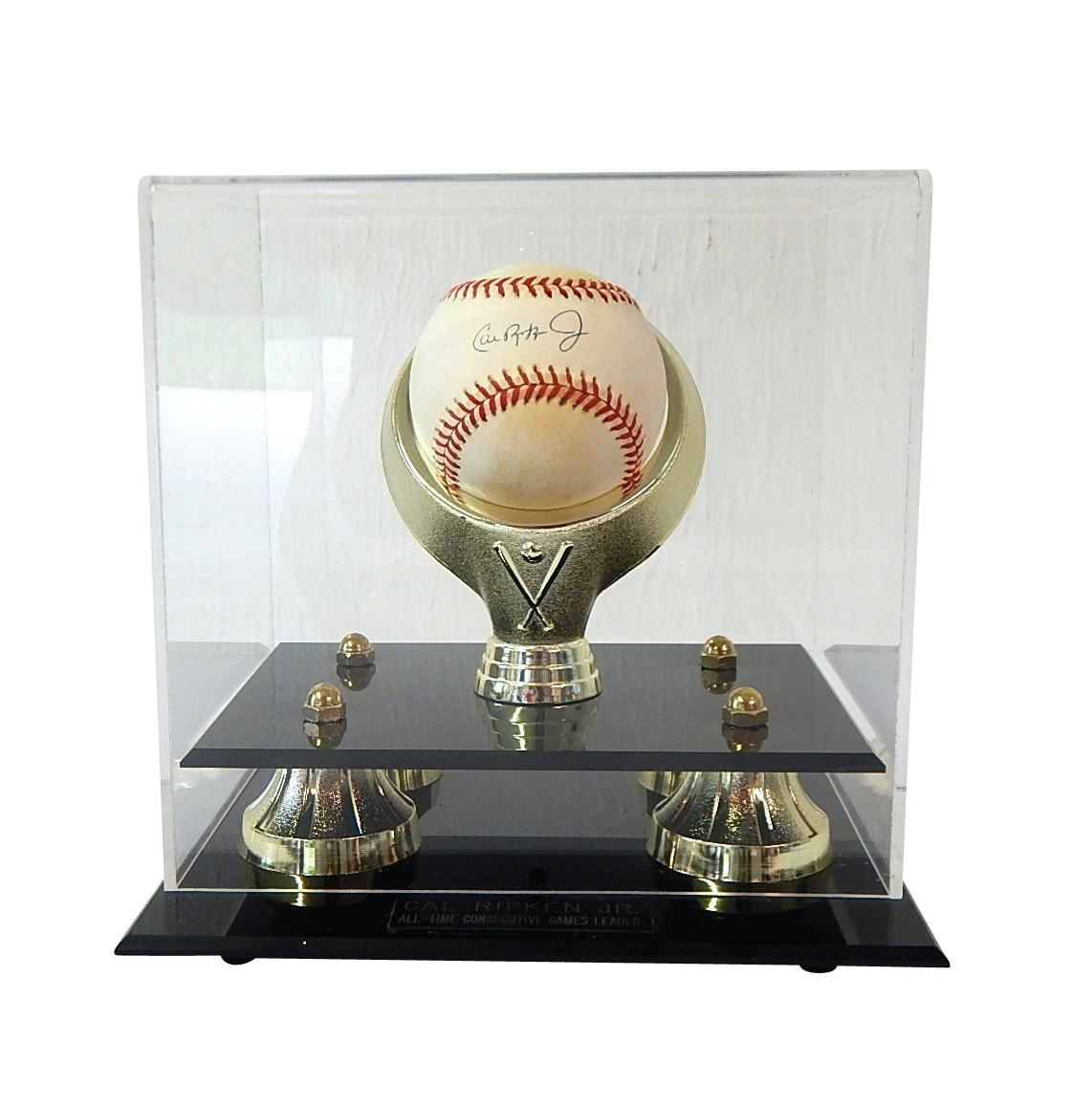 HOF Cal Ripken Jr. Signed Baseball - All-Time Consecutive Games Leader Display