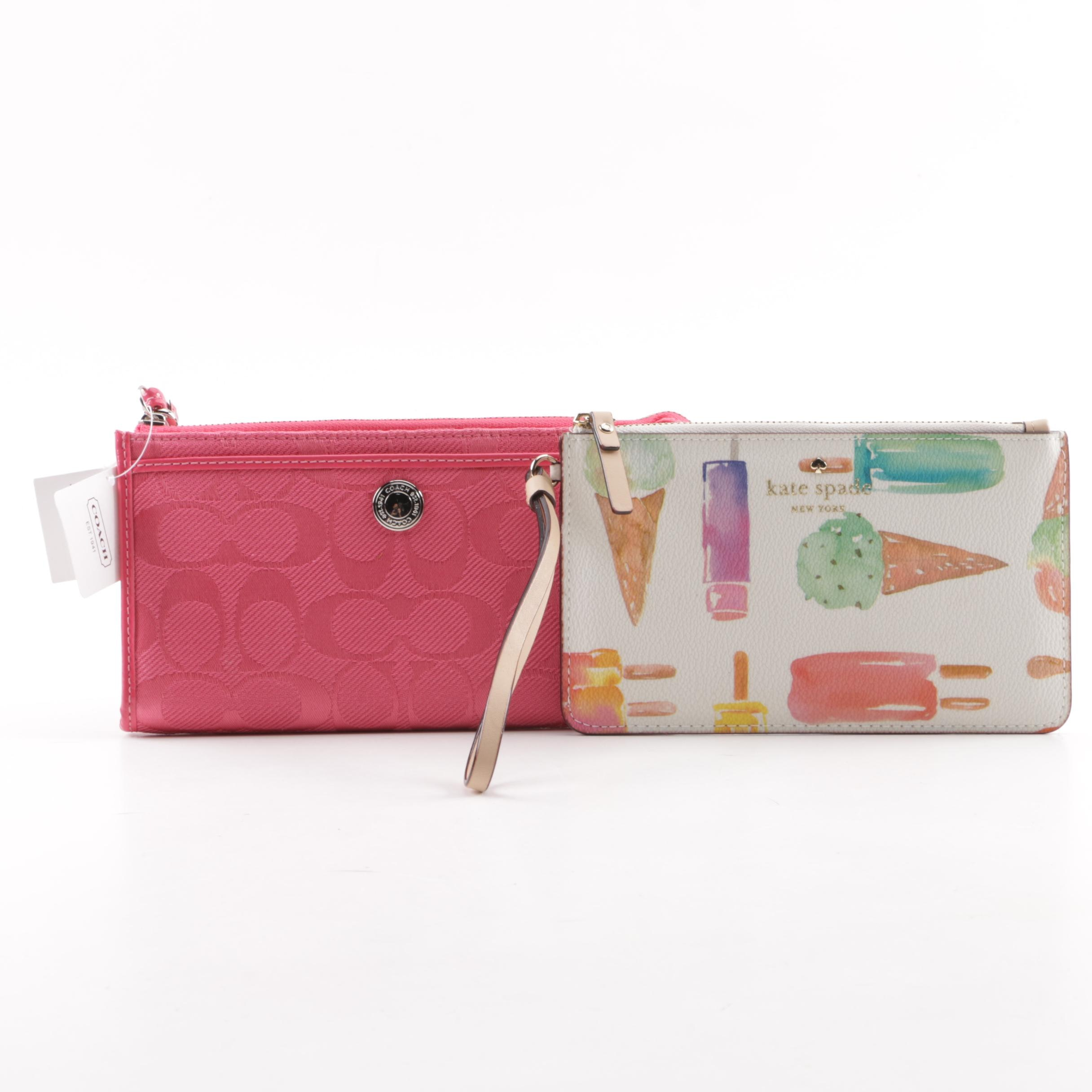 Coach Hibiscus Canvas and Kate Spade New York Ice Pop Slim Bee Wristlets