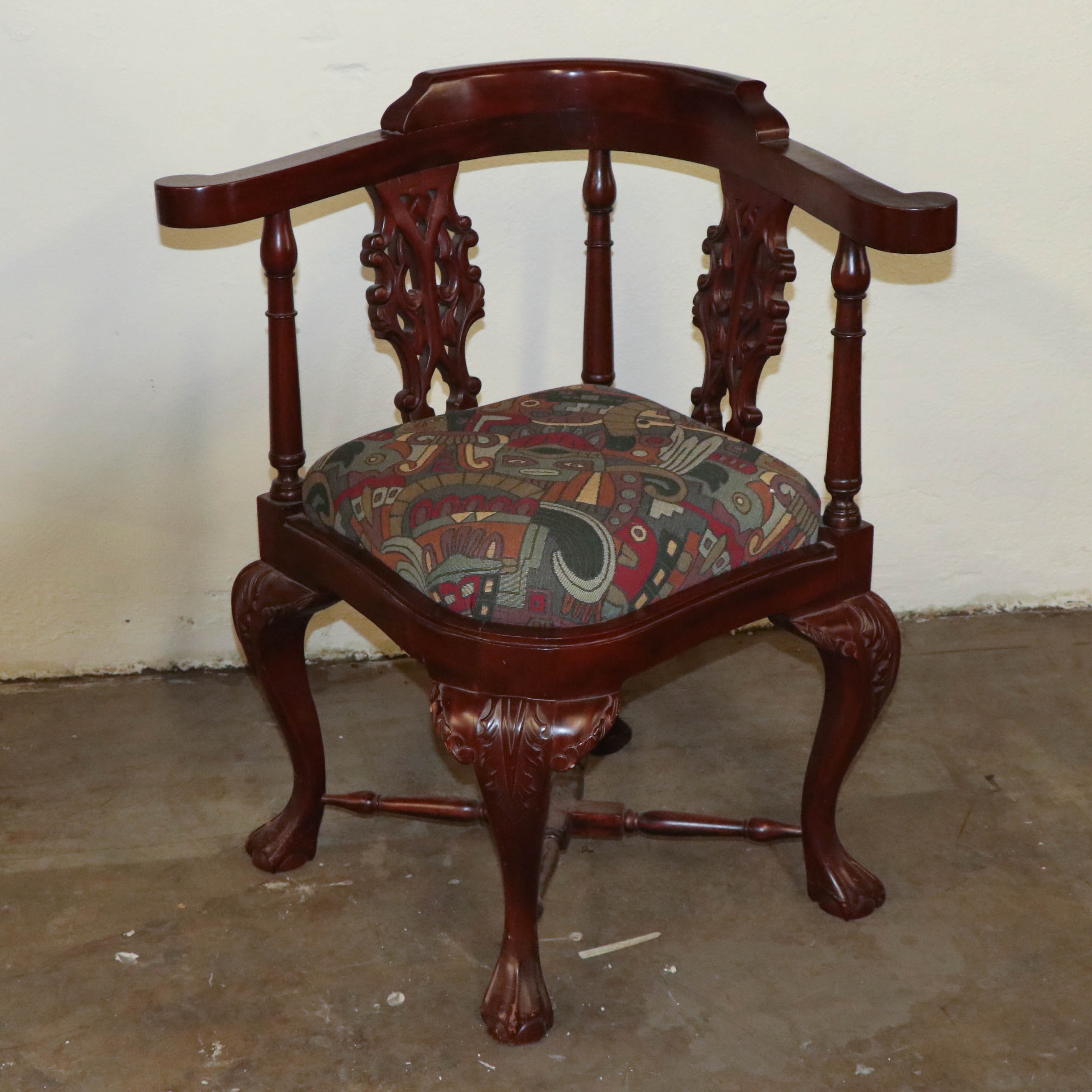 Chippendale Style Mahogany Corner Armchair, Mid 20th Century