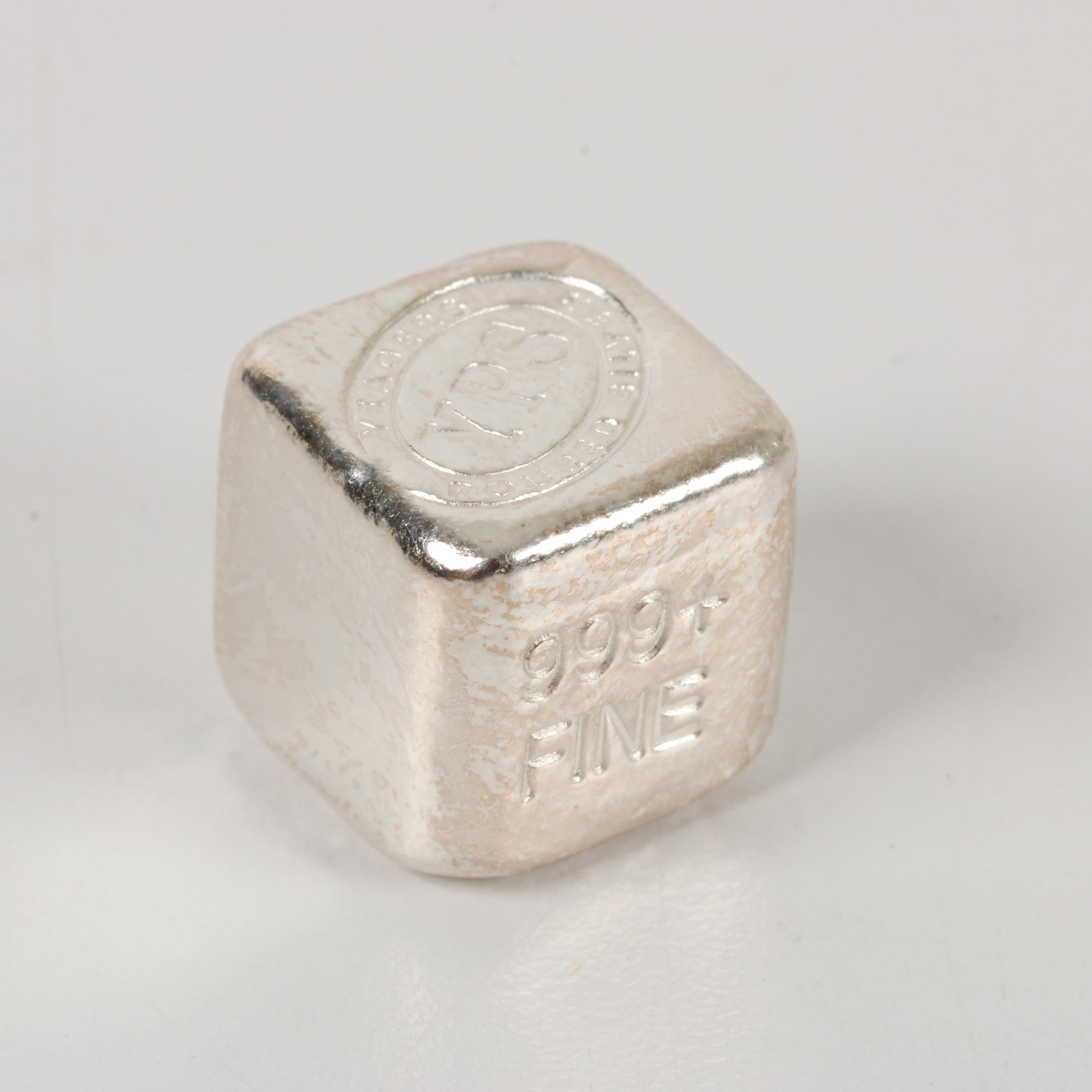 A One-Troy Ounce .999 Fine Silver Cube