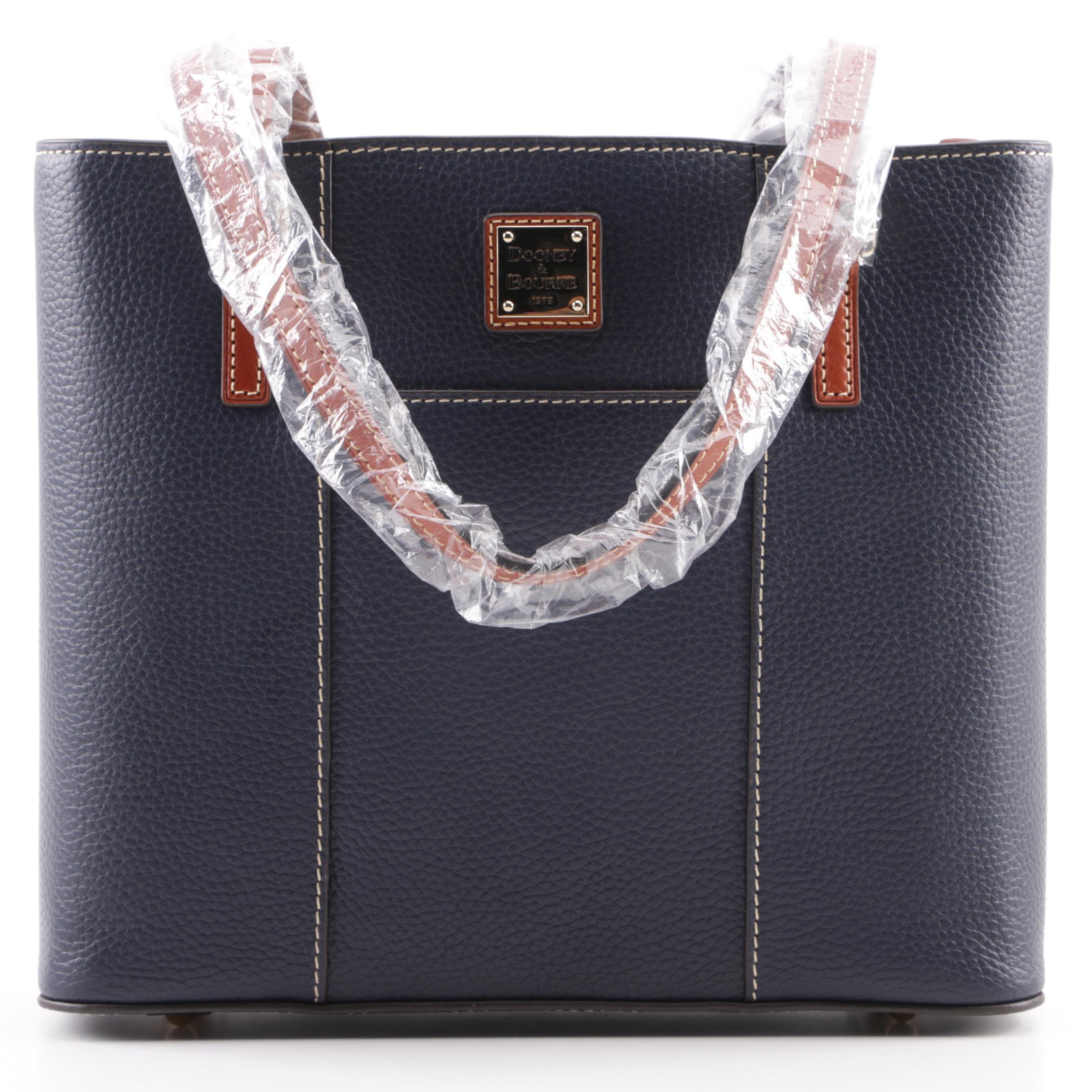 Dooney & Bourke Small Lexington Midnight Blue Pebbled Leather Shopper Tote