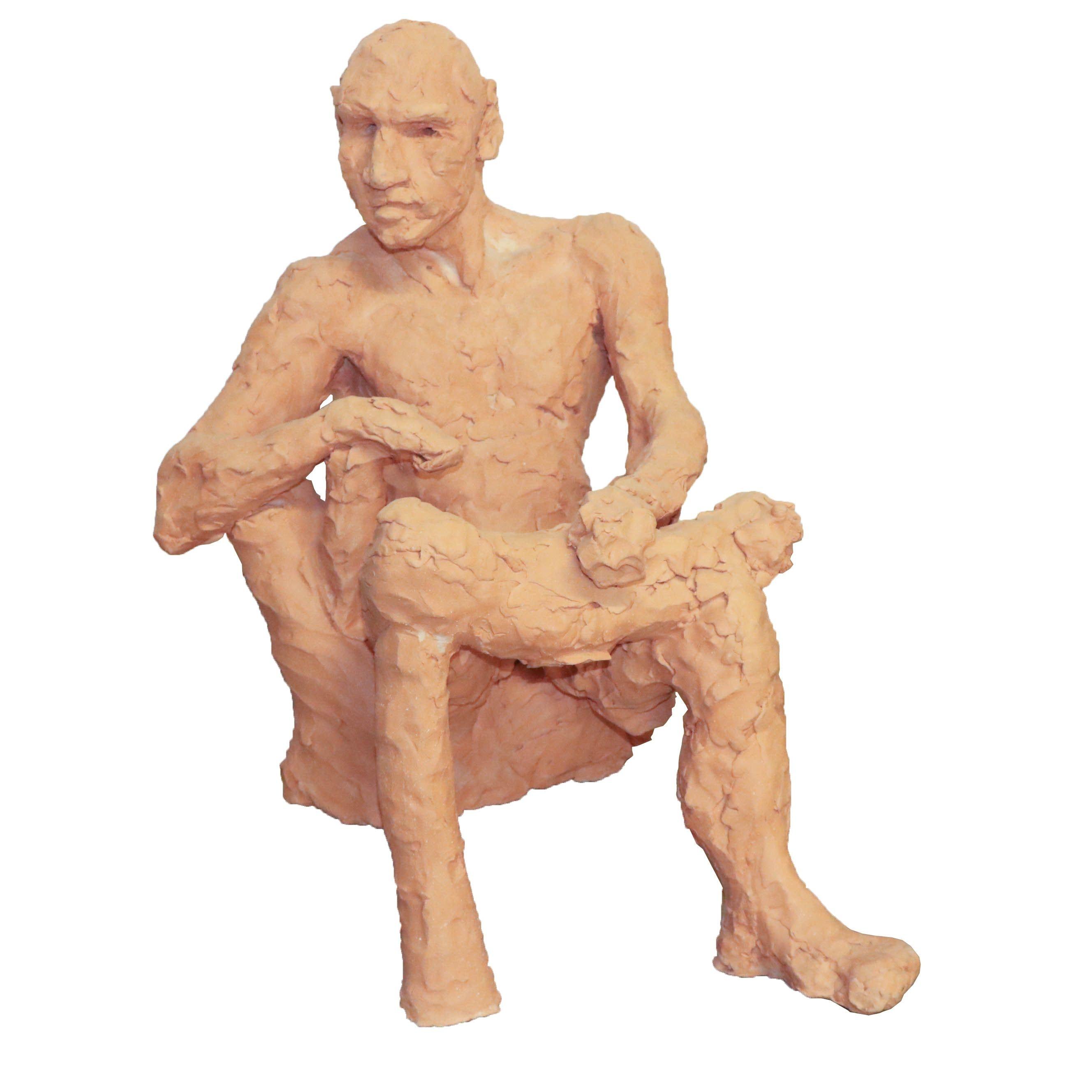 Debra Sue Payne Sitting Man Clay Sculpture