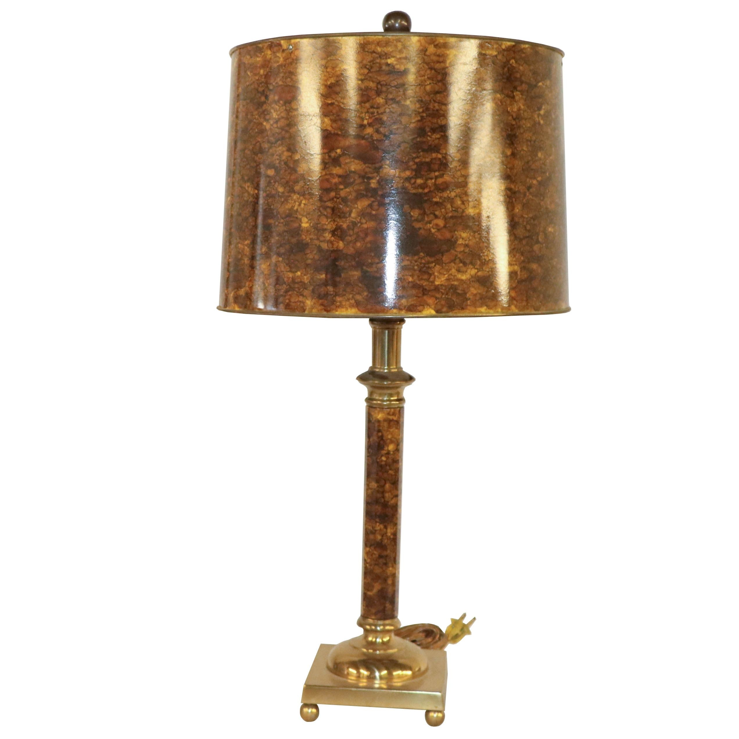 Mottled Finish Metal Candlestick Table Lamp with Matching Shade